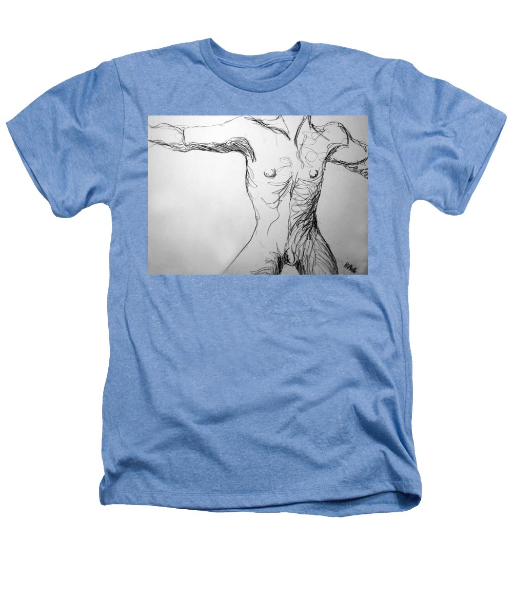 Figure Heathers T-Shirt featuring the drawing Figure Drawing 5 by Nancy Mueller