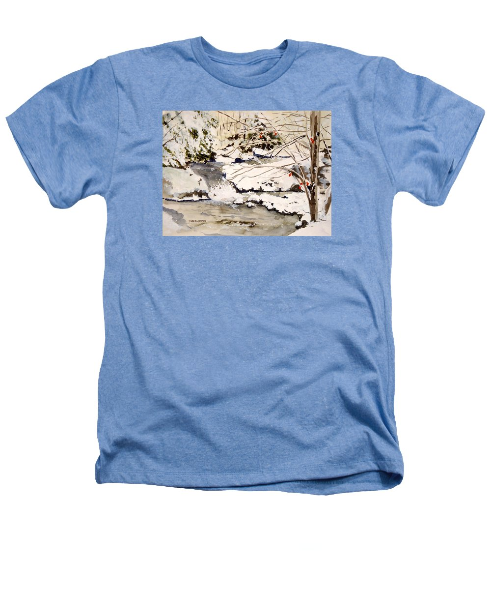 Winter Scene Heathers T-Shirt featuring the painting First Snowfall by Jean Blackmer