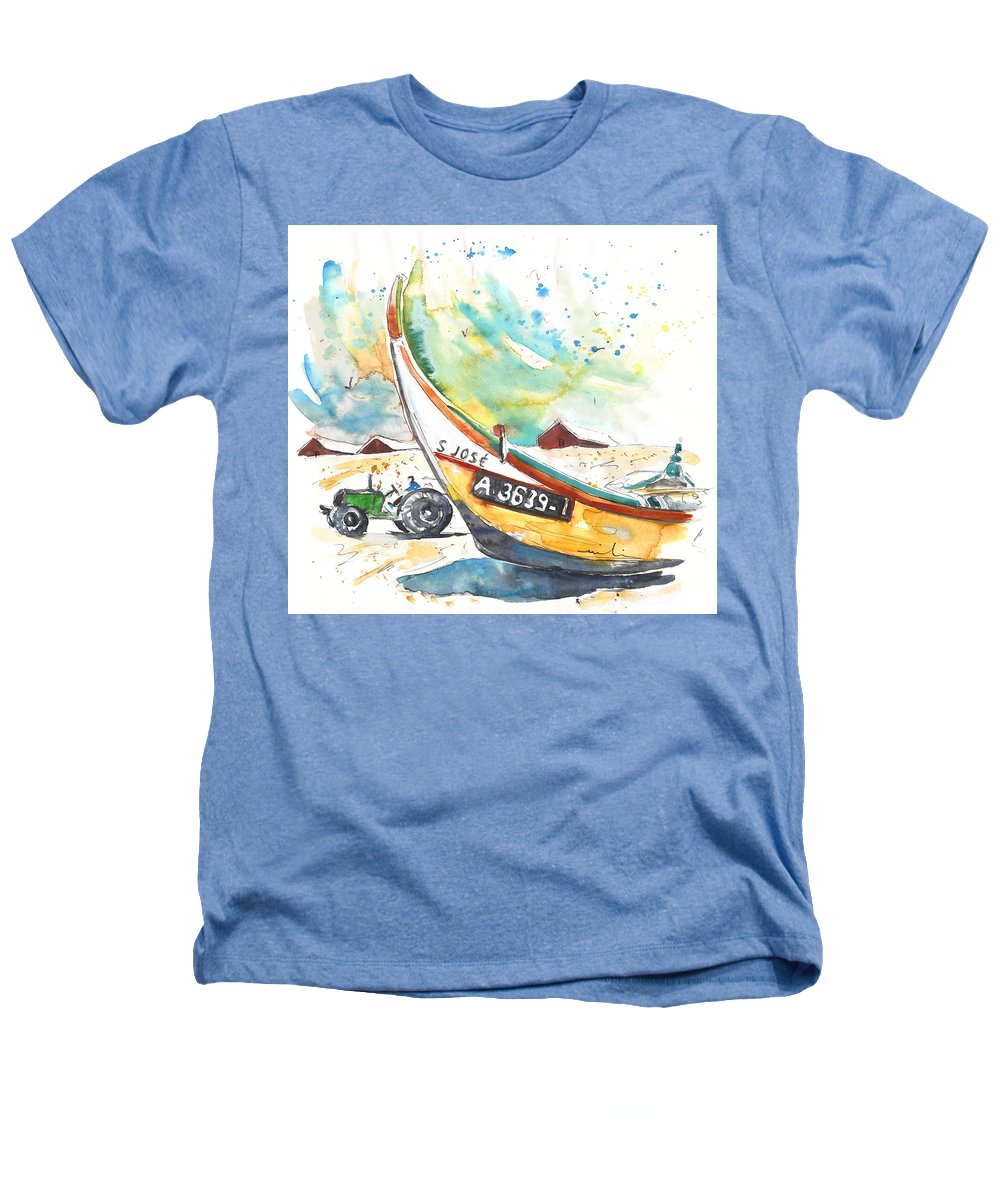 Portugal Heathers T-Shirt featuring the painting Fisherboat In Praia De Mira by Miki De Goodaboom
