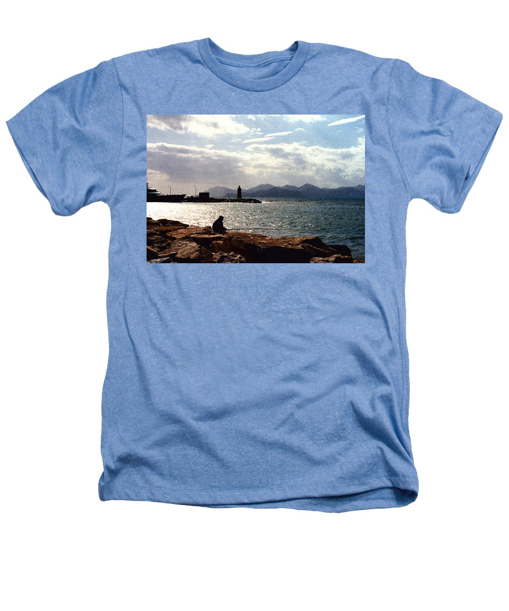 Fisherman Heathers T-Shirt featuring the photograph Fisherman In Nice France by Nancy Mueller