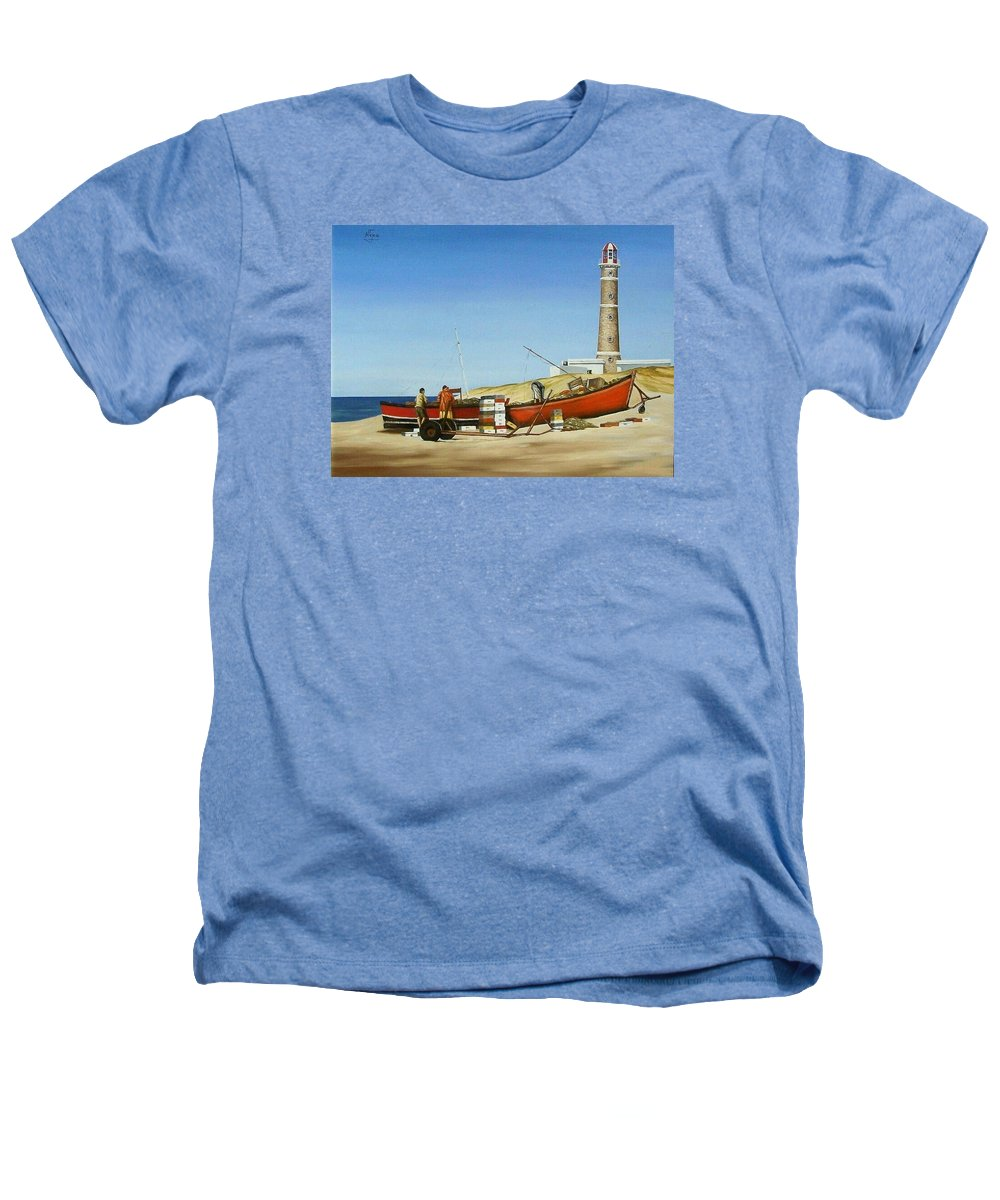 Lighthouse Fishermen Sea Seascape Heathers T-Shirt featuring the painting Fishermen By Lighthouse by Natalia Tejera