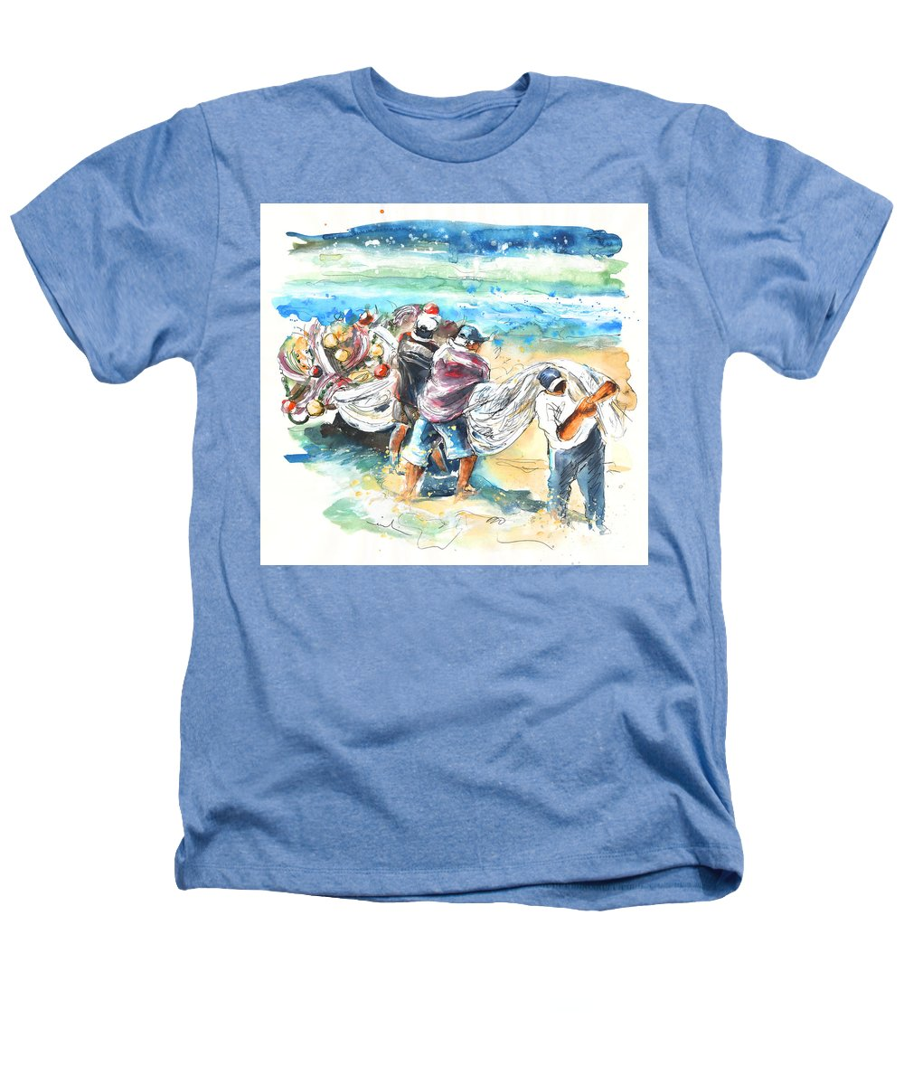 Portugal Heathers T-Shirt featuring the painting Fishermen In Praia De Mira by Miki De Goodaboom