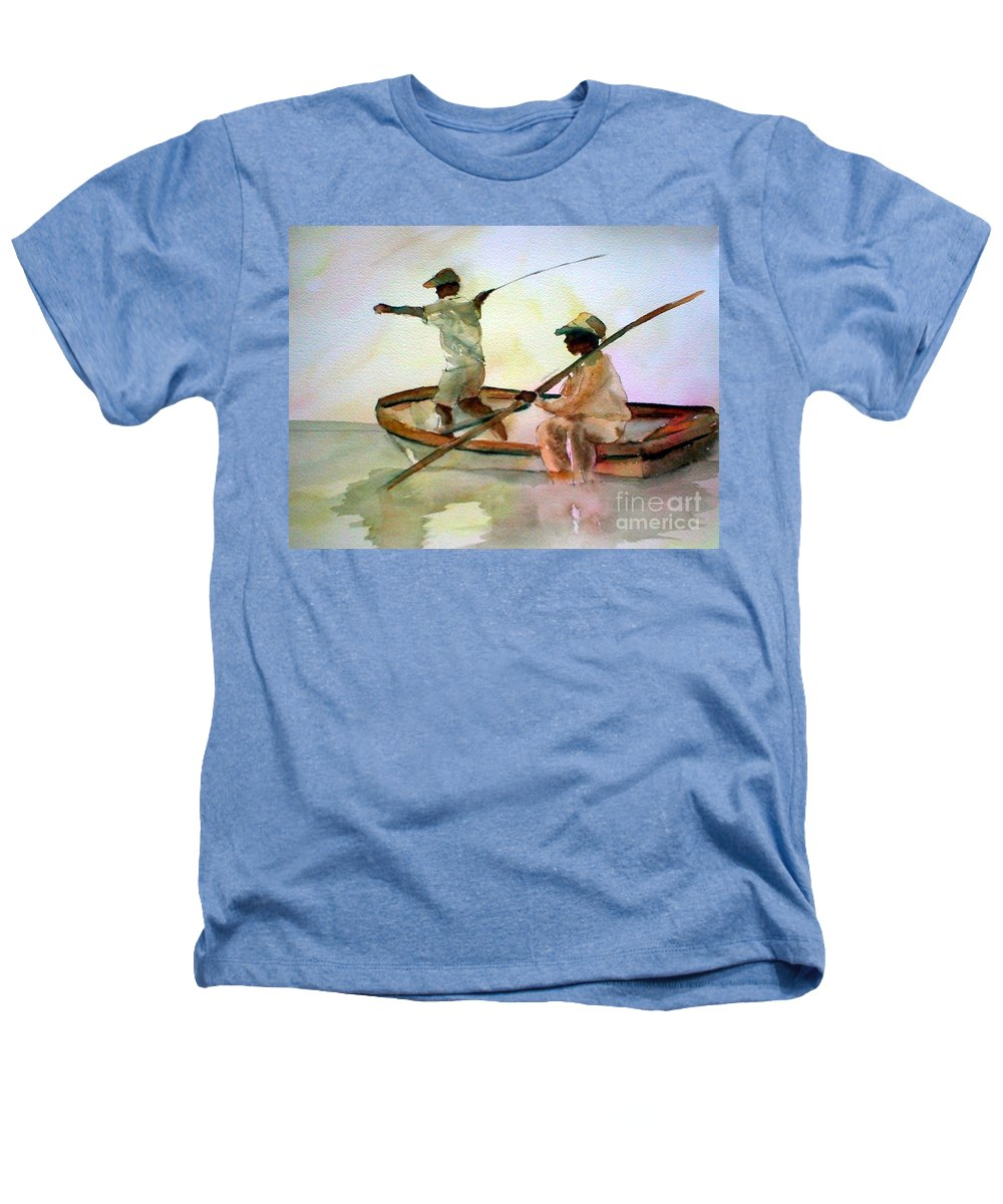 Fishing Heathers T-Shirt featuring the painting Fishing by Rhonda Hancock