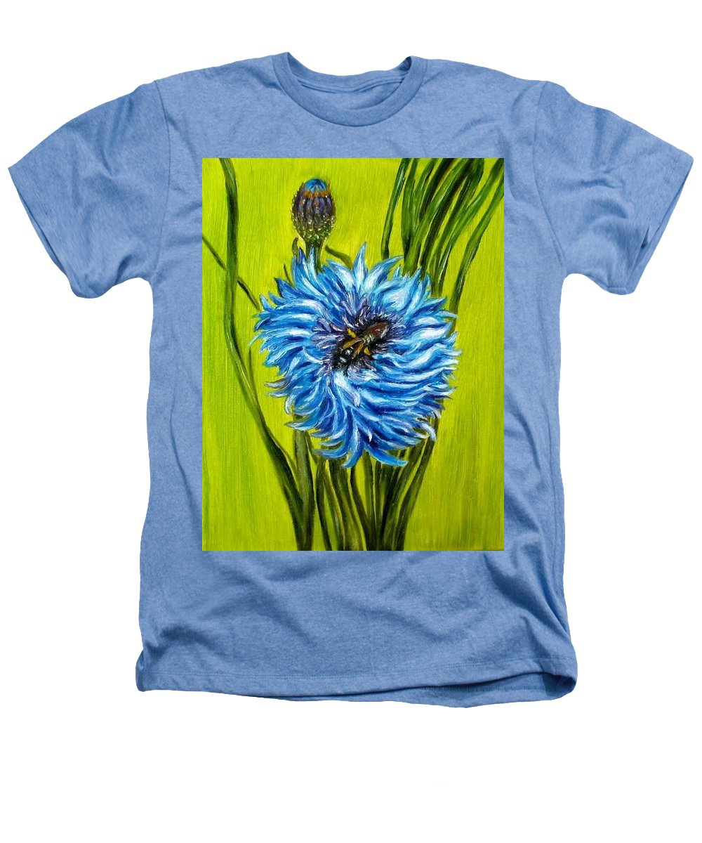 Flower Heathers T-Shirt featuring the painting Flower And Bee Oil Painting by Natalja Picugina