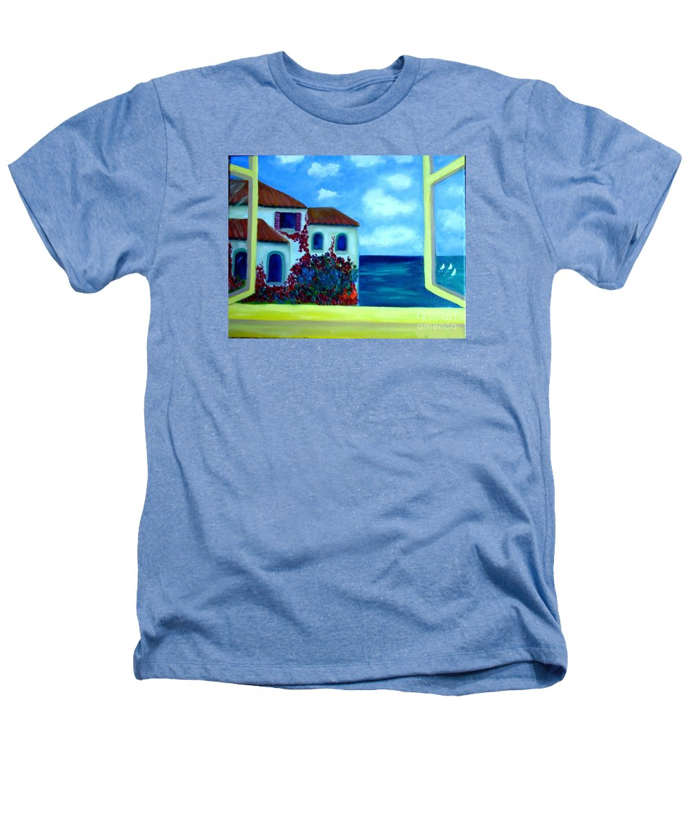 Seascape Heathers T-Shirt featuring the painting Fresh Sea Air by Laurie Morgan