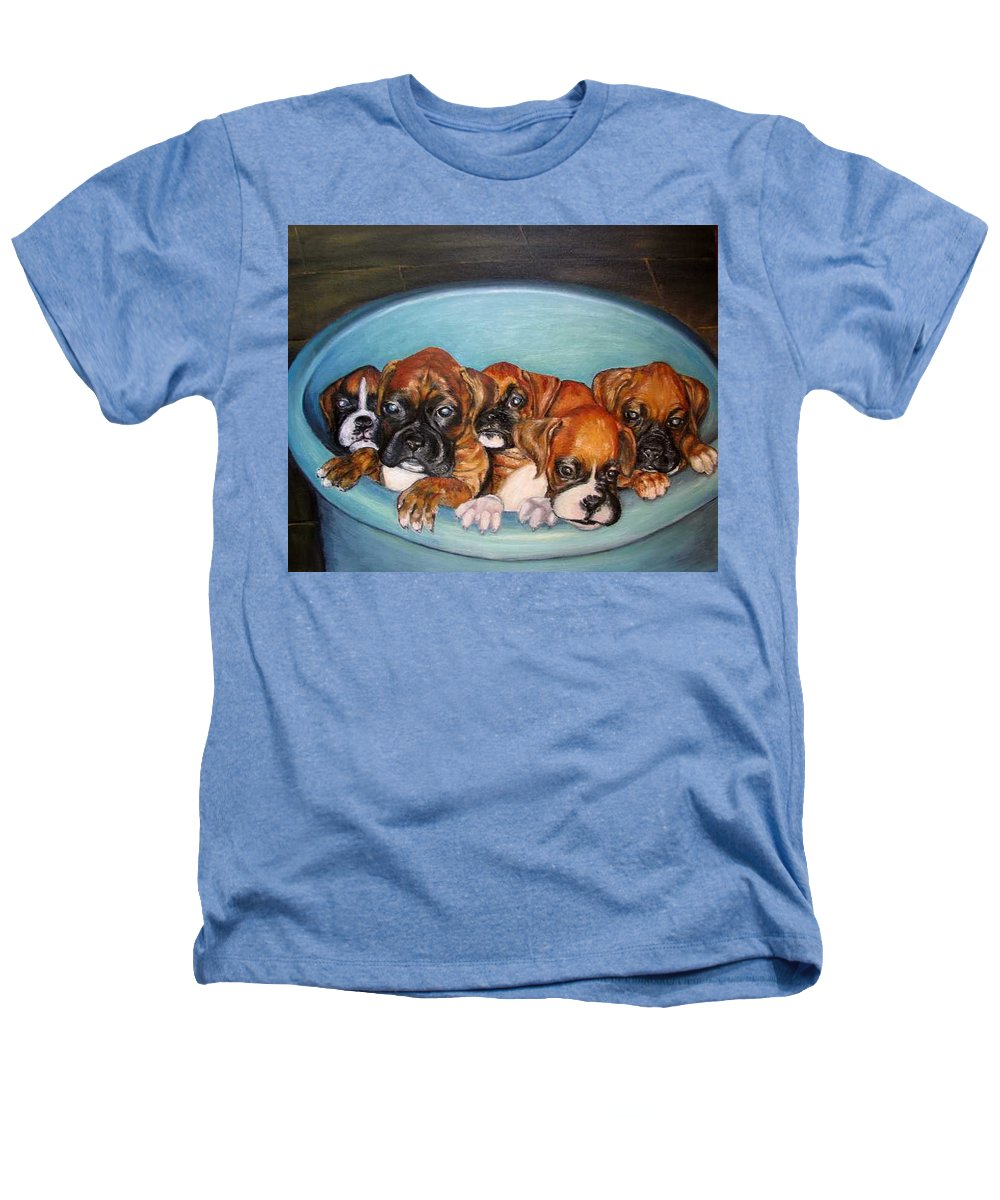 Oil Heathers T-Shirt featuring the painting Funny Puppies Orginal Oil Painting by Natalja Picugina