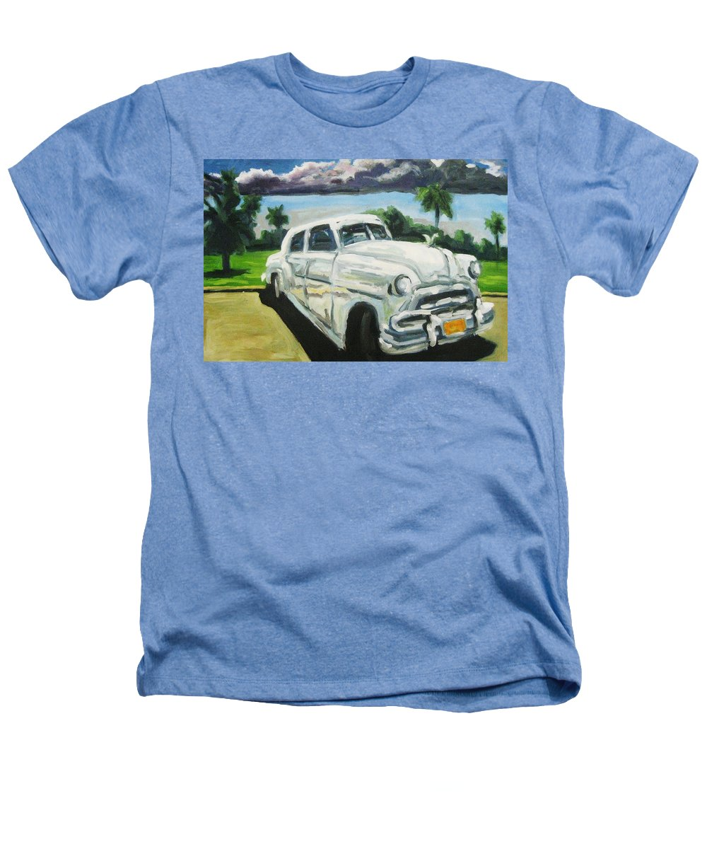 Old Cars Heathers T-Shirt featuring the painting Gangsters On Vacation by John Malone