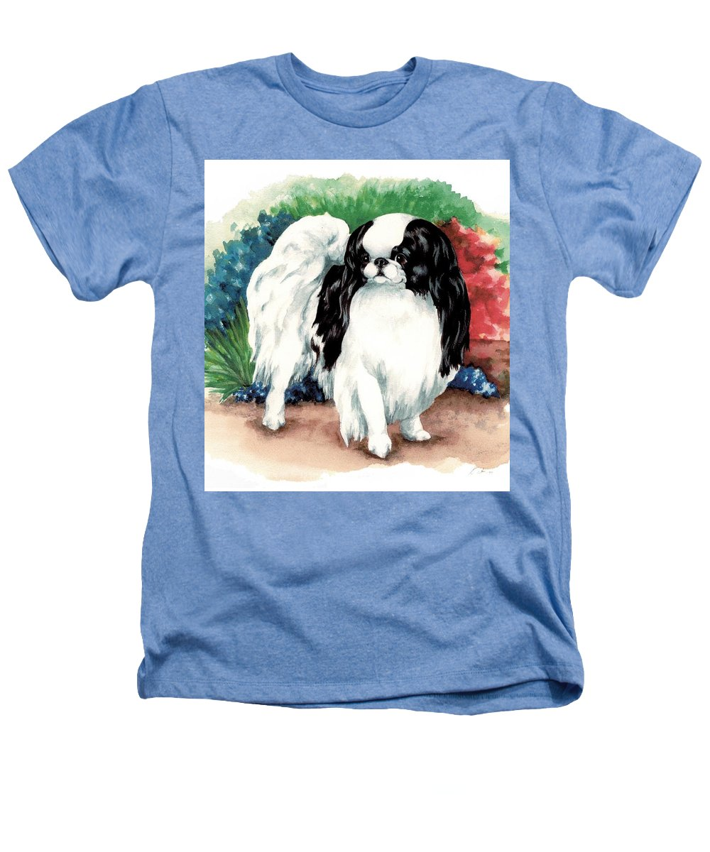 Japanese Chin Heathers T-Shirt featuring the painting Garden Chin by Kathleen Sepulveda