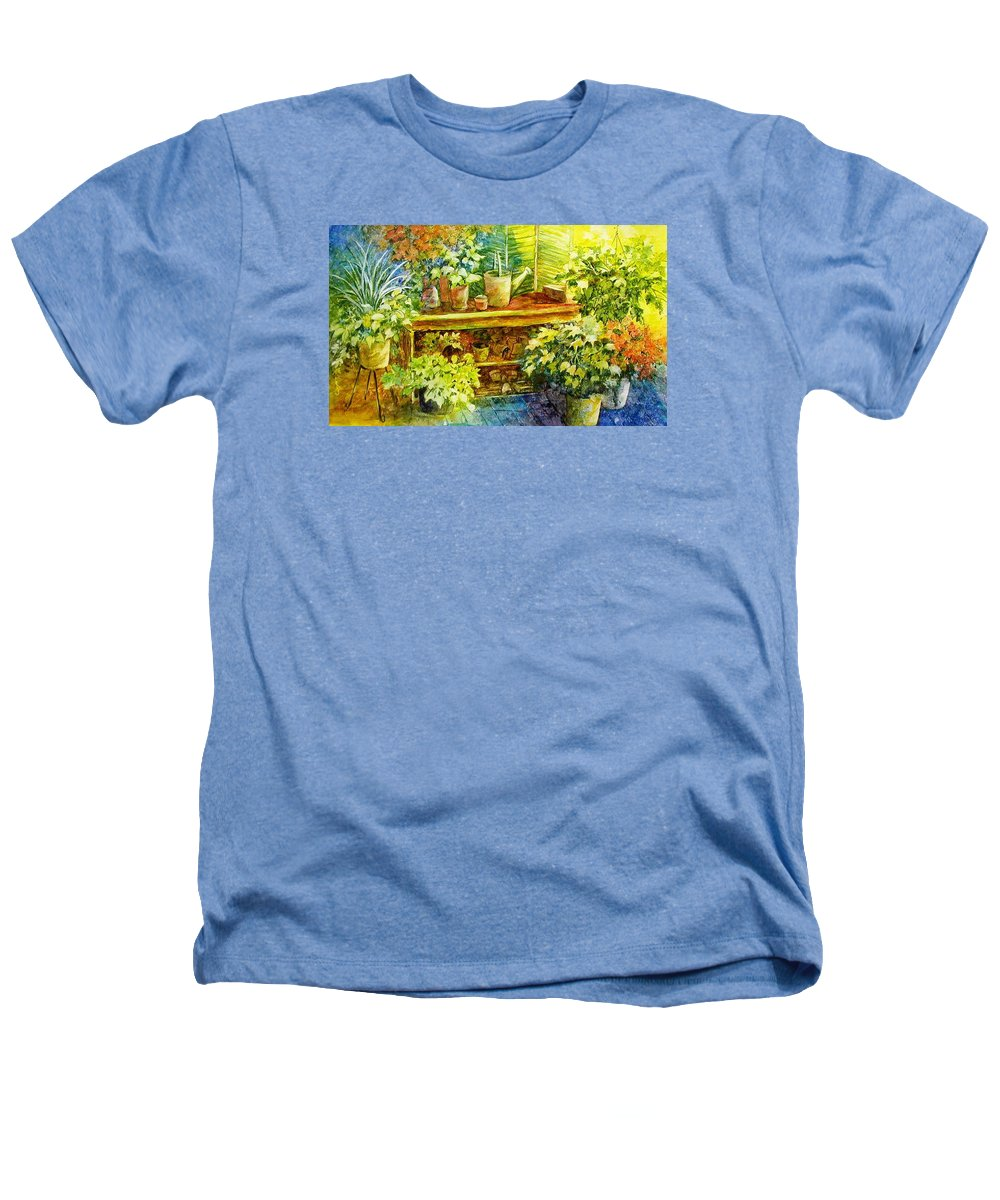 Greenhouse;plants;flowers;gardener;workbench;sprinkling Can;contemporary Heathers T-Shirt featuring the painting Gardener's Joy by Lois Mountz