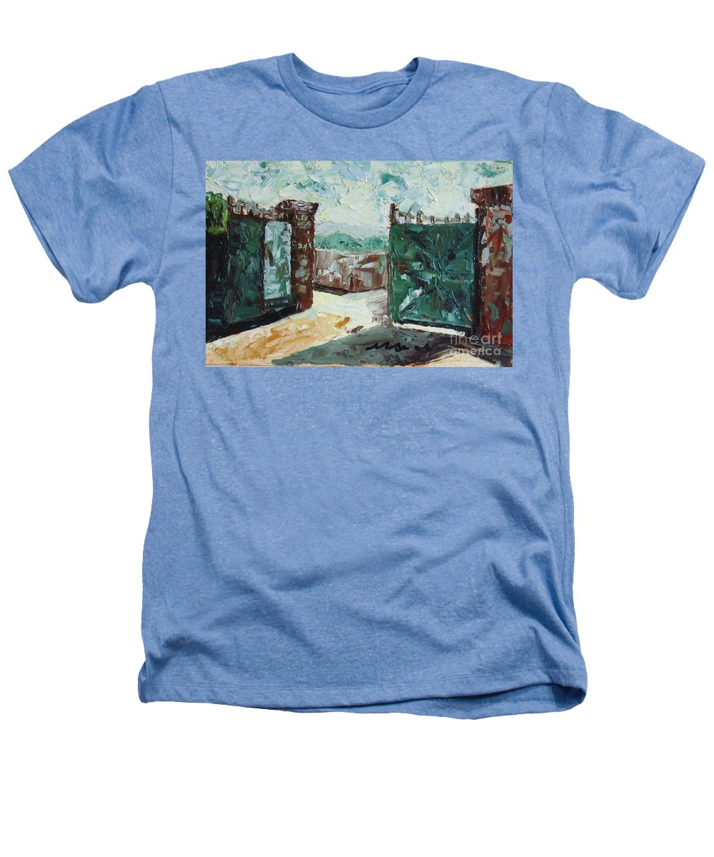 Gate Oil Canvas Heathers T-Shirt featuring the painting Gate2 by Seon-Jeong Kim