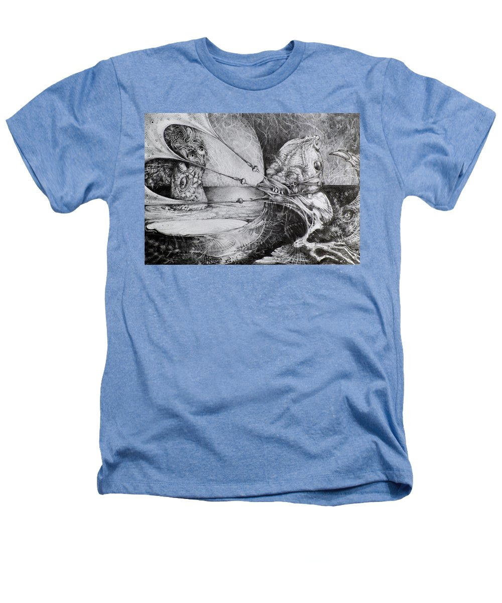 Surrealism Heathers T-Shirt featuring the drawing General Peckerwood In Purgatory by Otto Rapp