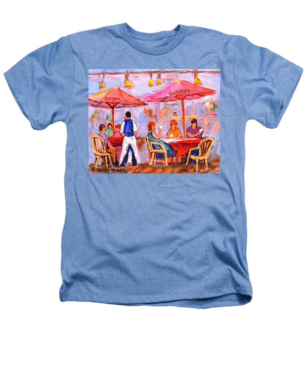 Gibbys Restaurant Montreal Street Scenes Heathers T-Shirt featuring the painting Gibbys Cafe by Carole Spandau