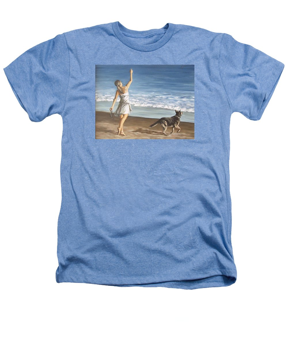 Portrait Girl Beach Dog Seascape Sea Children Figure Figurative Heathers T-Shirt featuring the painting Girl And Dog by Natalia Tejera