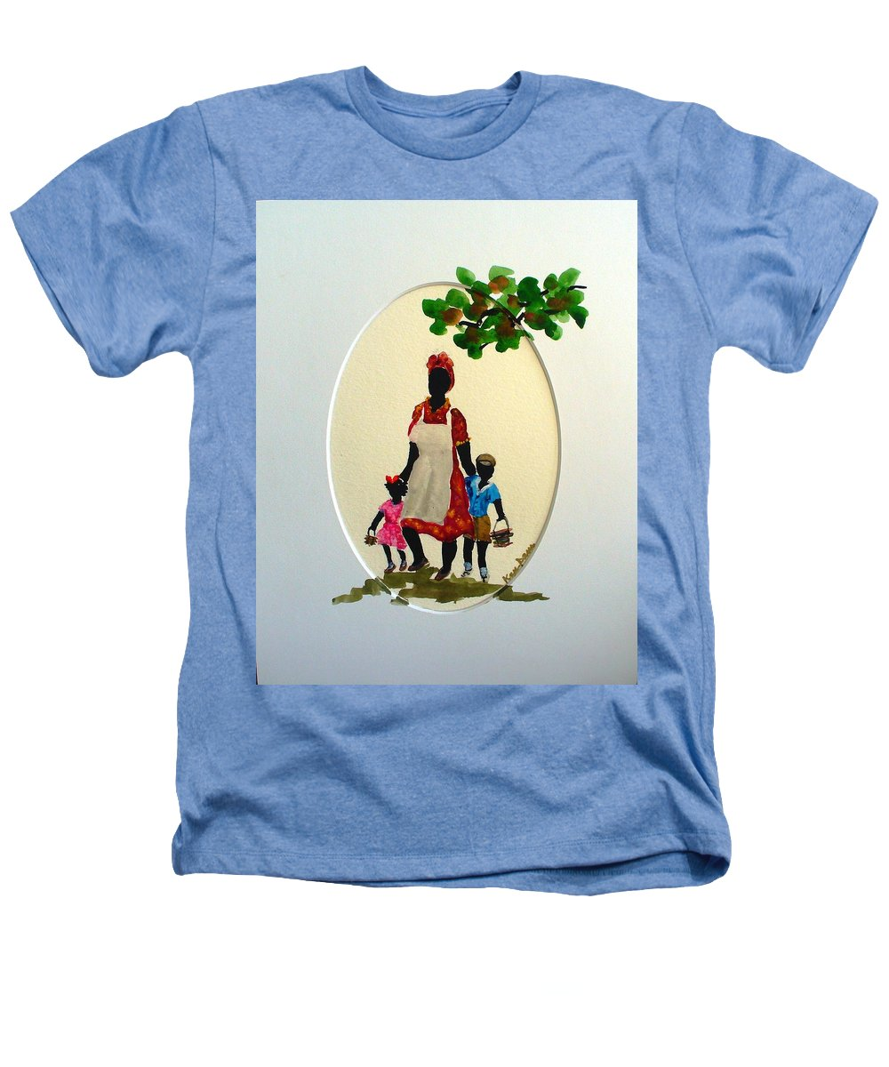 Caribbean Children Heathers T-Shirt featuring the painting Going To School by Karin Dawn Kelshall- Best