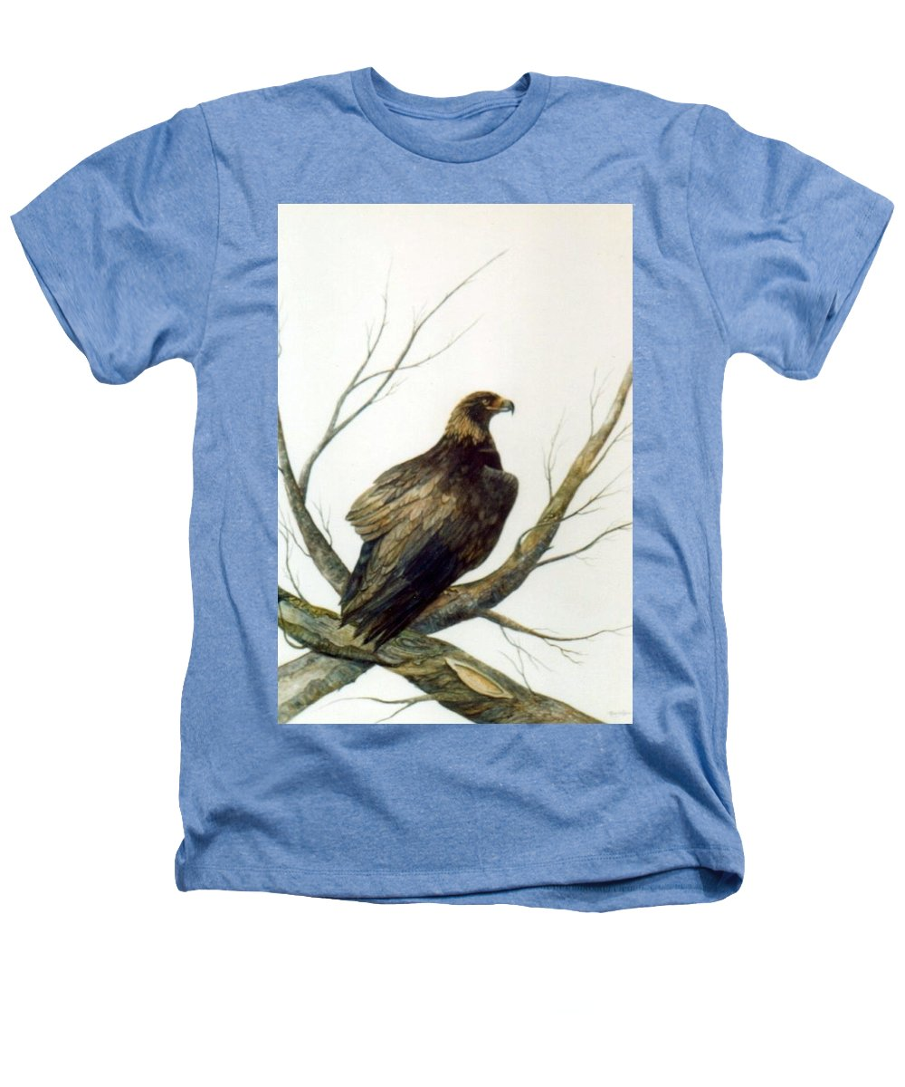 Eagle Heathers T-Shirt featuring the painting Golden Eagle by Ben Kiger
