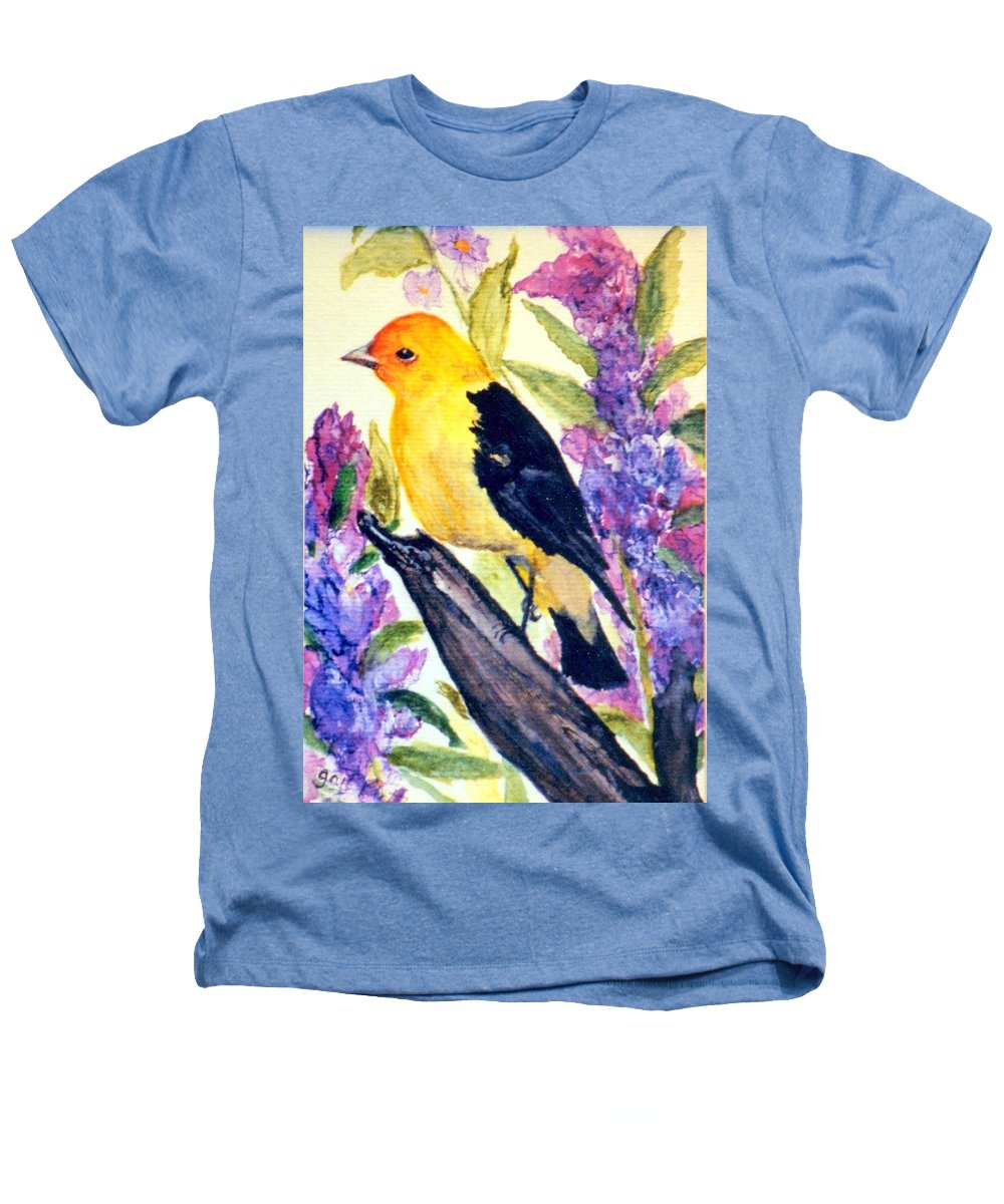 Birds Heathers T-Shirt featuring the painting Goldfinch by Gail Kirtz