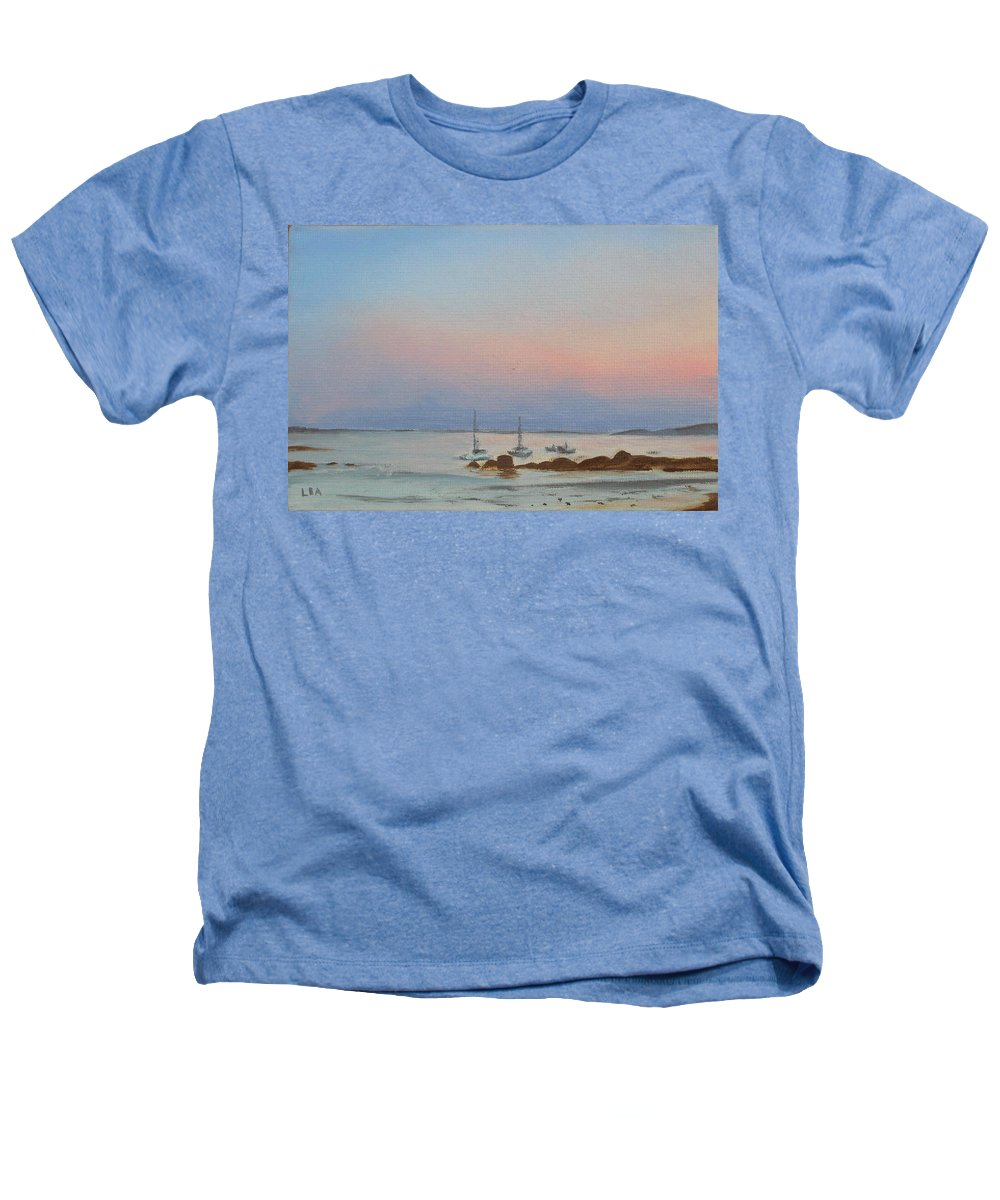 Seascape Heathers T-Shirt featuring the painting Good Harbor by Lea Novak