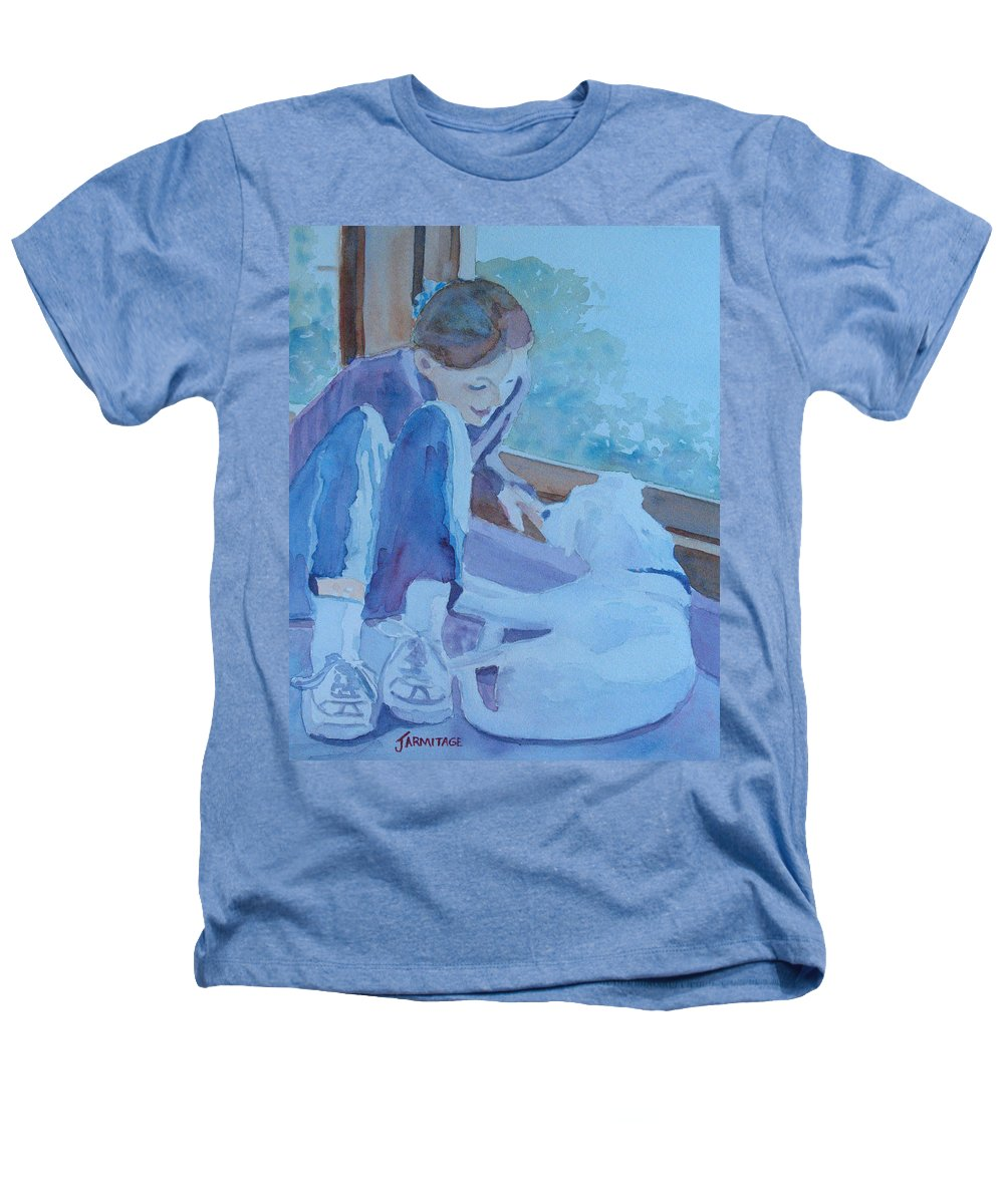 Girl Heathers T-Shirt featuring the painting Good Morning Puppy by Jenny Armitage