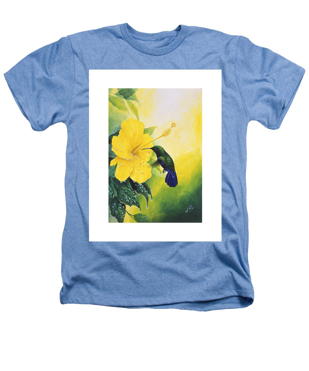 Chris Cox Heathers T-Shirt featuring the painting Green-throated Carib Hummingbird And Yellow Hibiscus by Christopher Cox