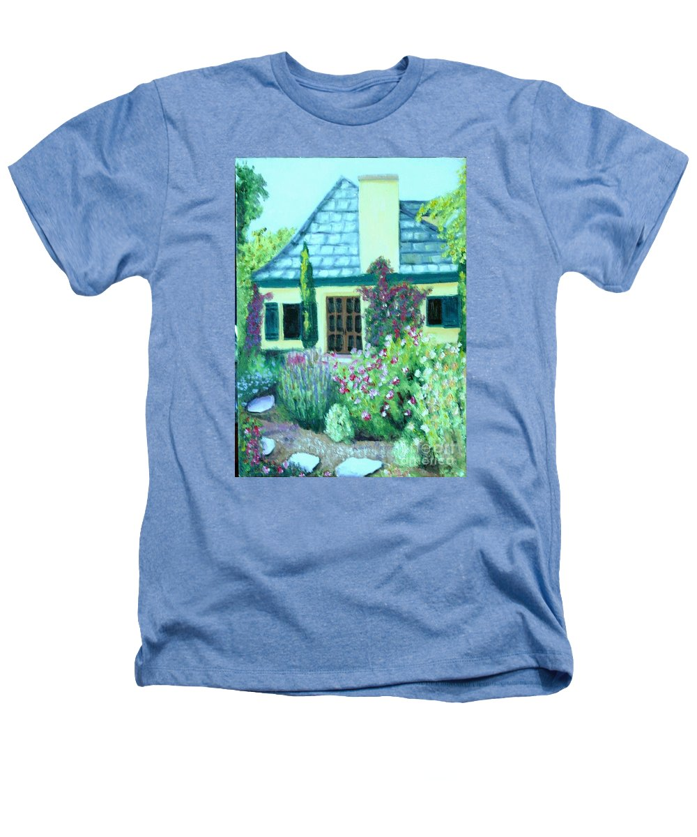 Cottage Heathers T-Shirt featuring the painting Guest Cottage by Laurie Morgan