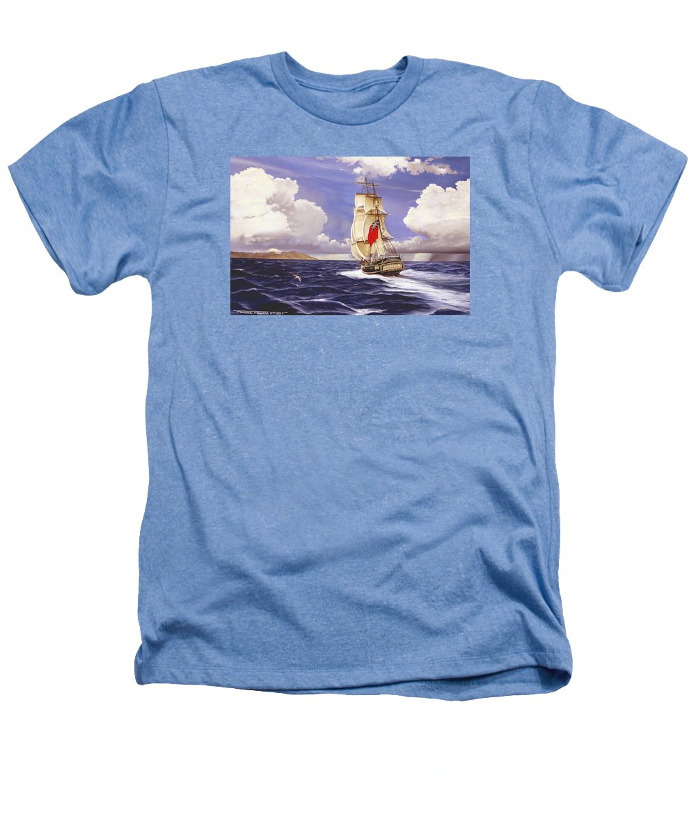 Marine Heathers T-Shirt featuring the painting H. M. S. Bounty At Tahiti by Marc Stewart