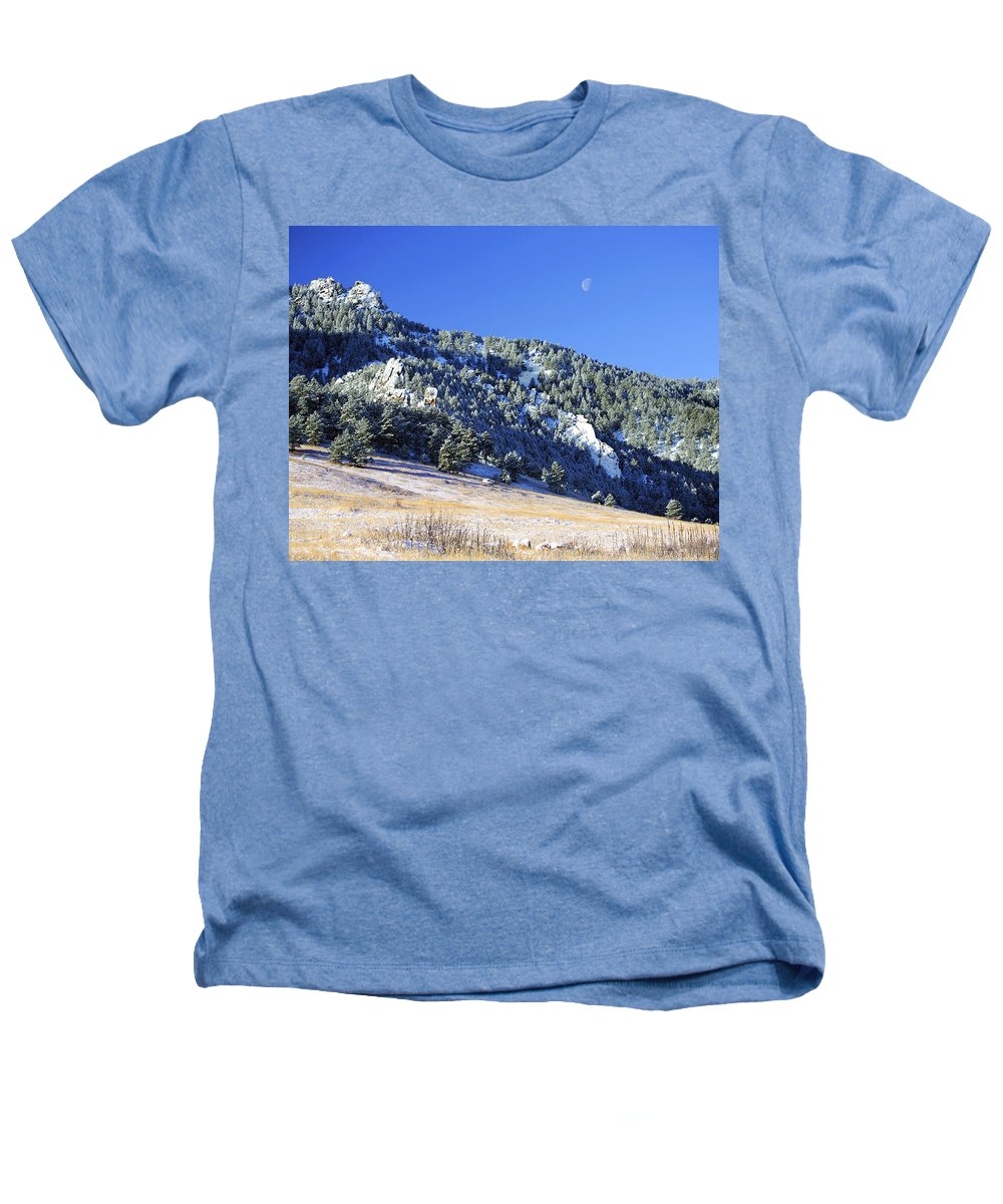 Nature Heathers T-Shirt featuring the photograph Half Moon Over The Flatirons by Marilyn Hunt