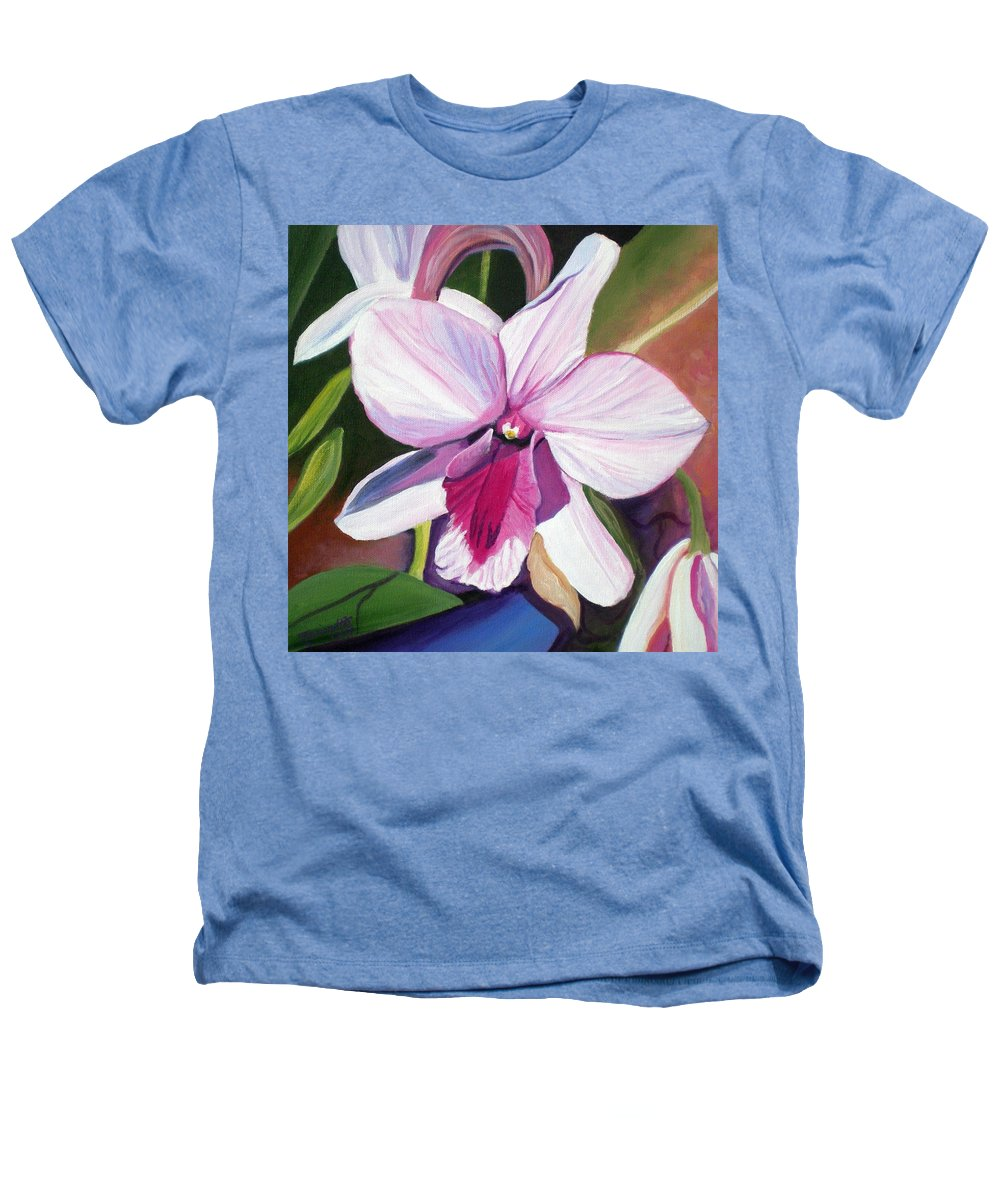 Kauai Heathers T-Shirt featuring the painting Happy Orchid by Marionette Taboniar