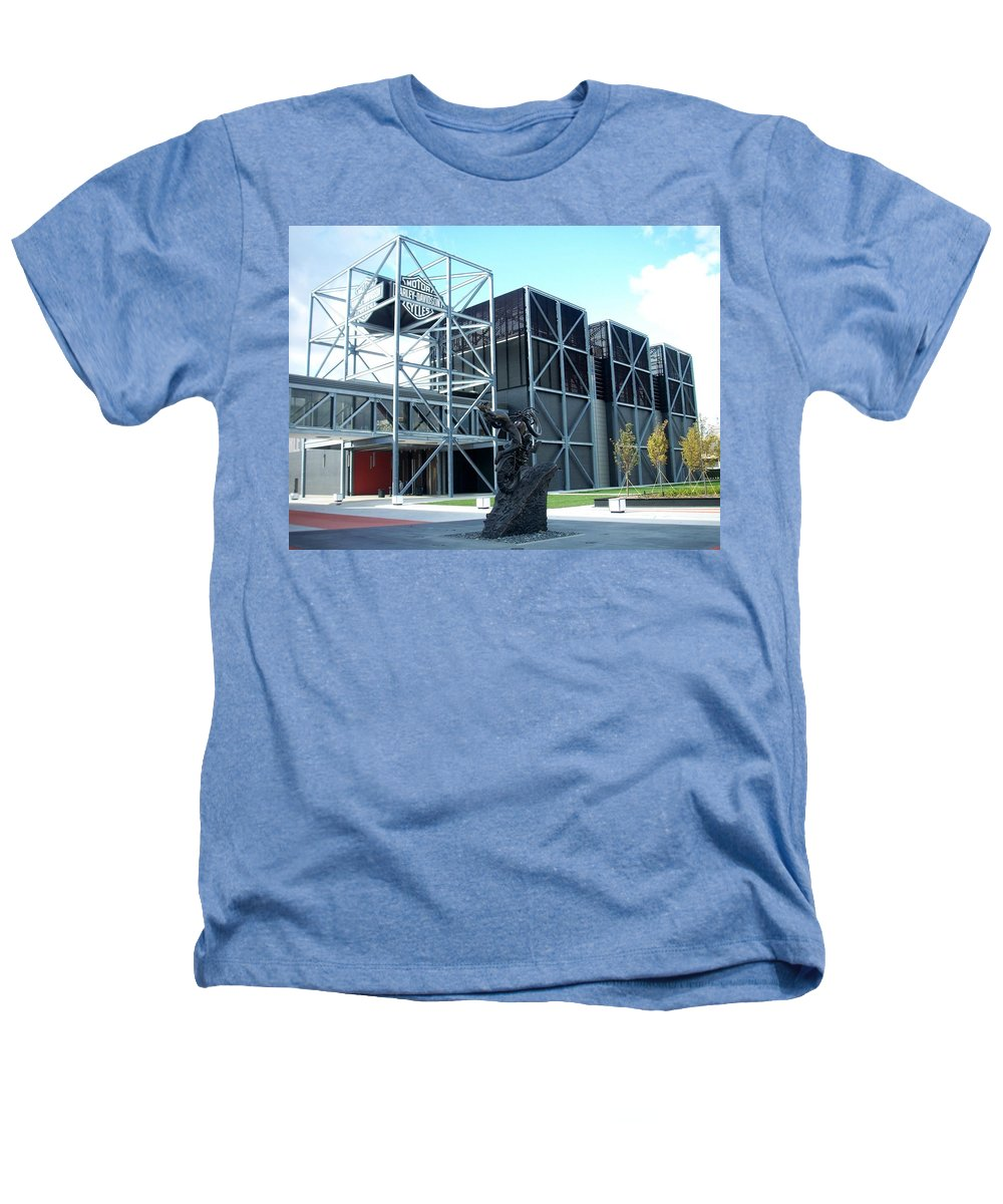 Architechture Heathers T-Shirt featuring the photograph Harley Museum And Statue by Anita Burgermeister