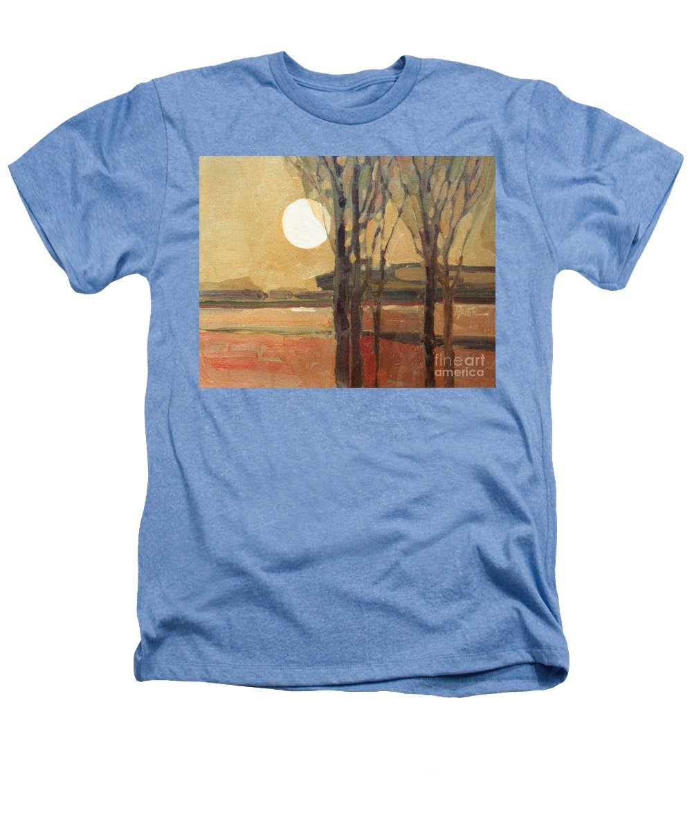 Sunset Heathers T-Shirt featuring the painting Harvest Moon by Donald Maier