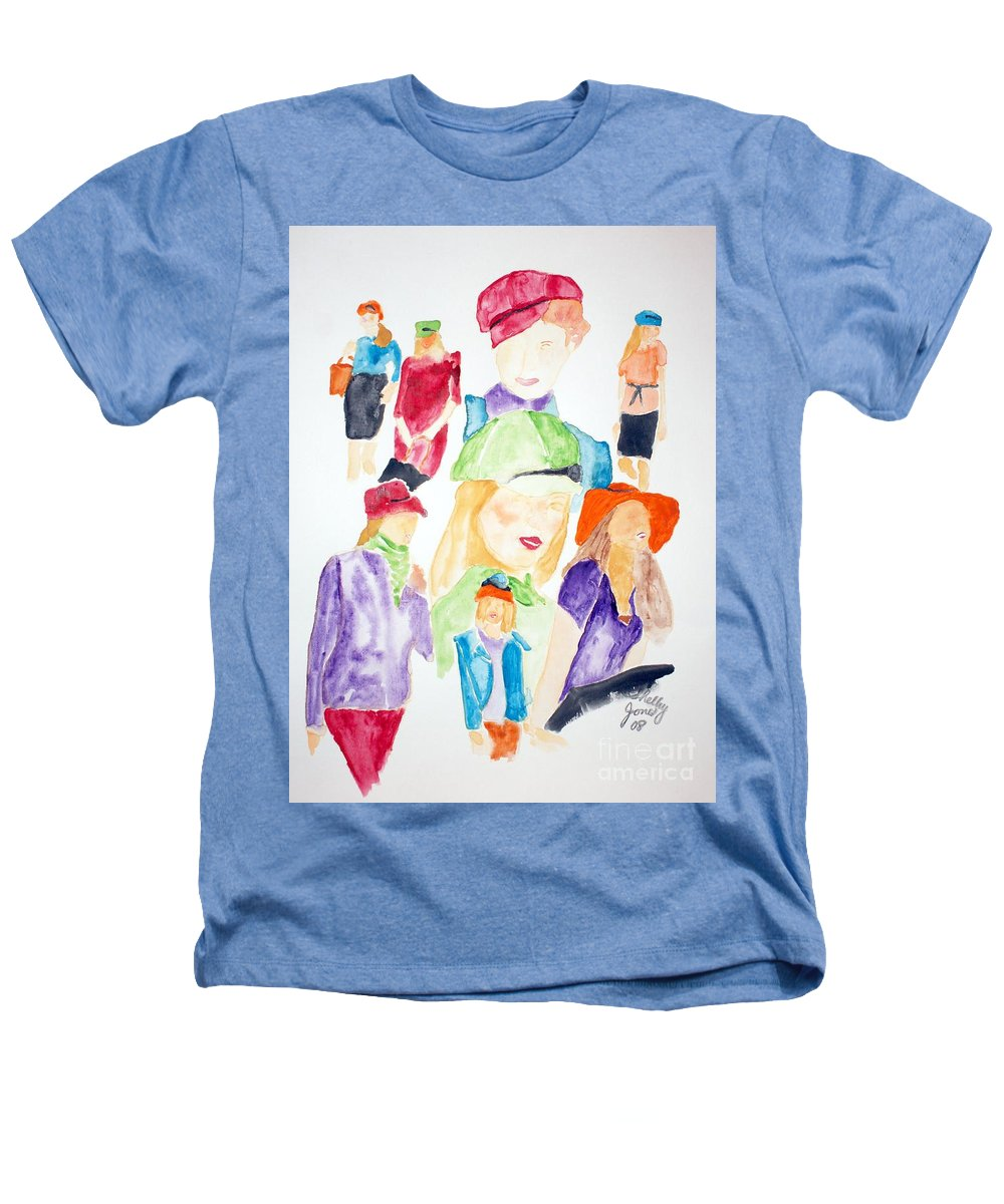 Hats Heathers T-Shirt featuring the painting Hats by Shelley Jones