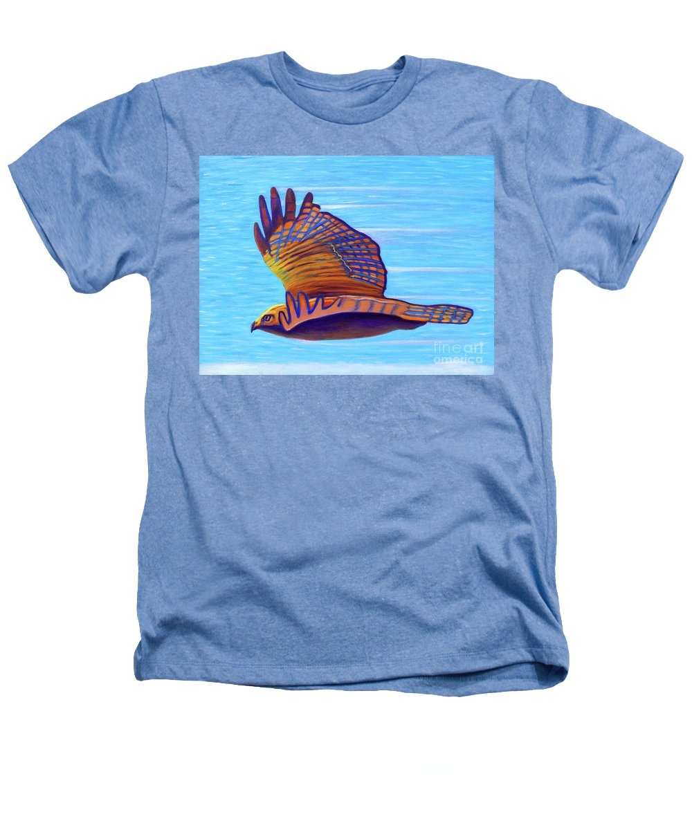 Hawk Heathers T-Shirt featuring the painting Hawk Speed by Brian Commerford
