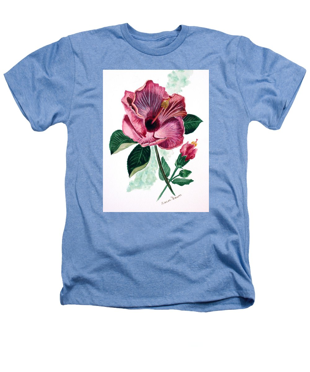 Flora Painting L Hibiscus Painting Pink Flower Painting Greeting Card Painting Heathers T-Shirt featuring the painting Hibiscus Dusky Rose by Karin Dawn Kelshall- Best