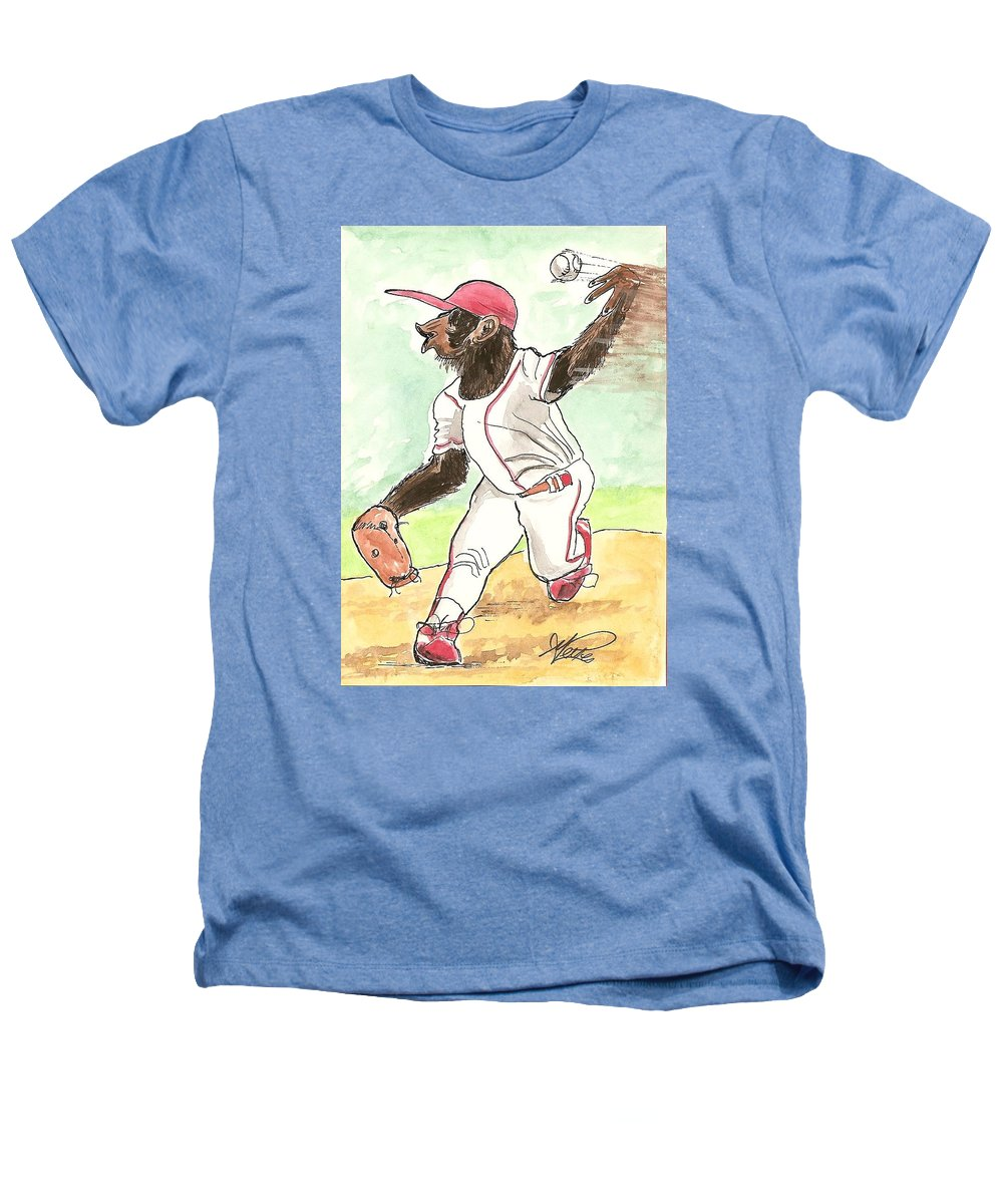 Baseball Heathers T-Shirt featuring the drawing Hit This by George I Perez