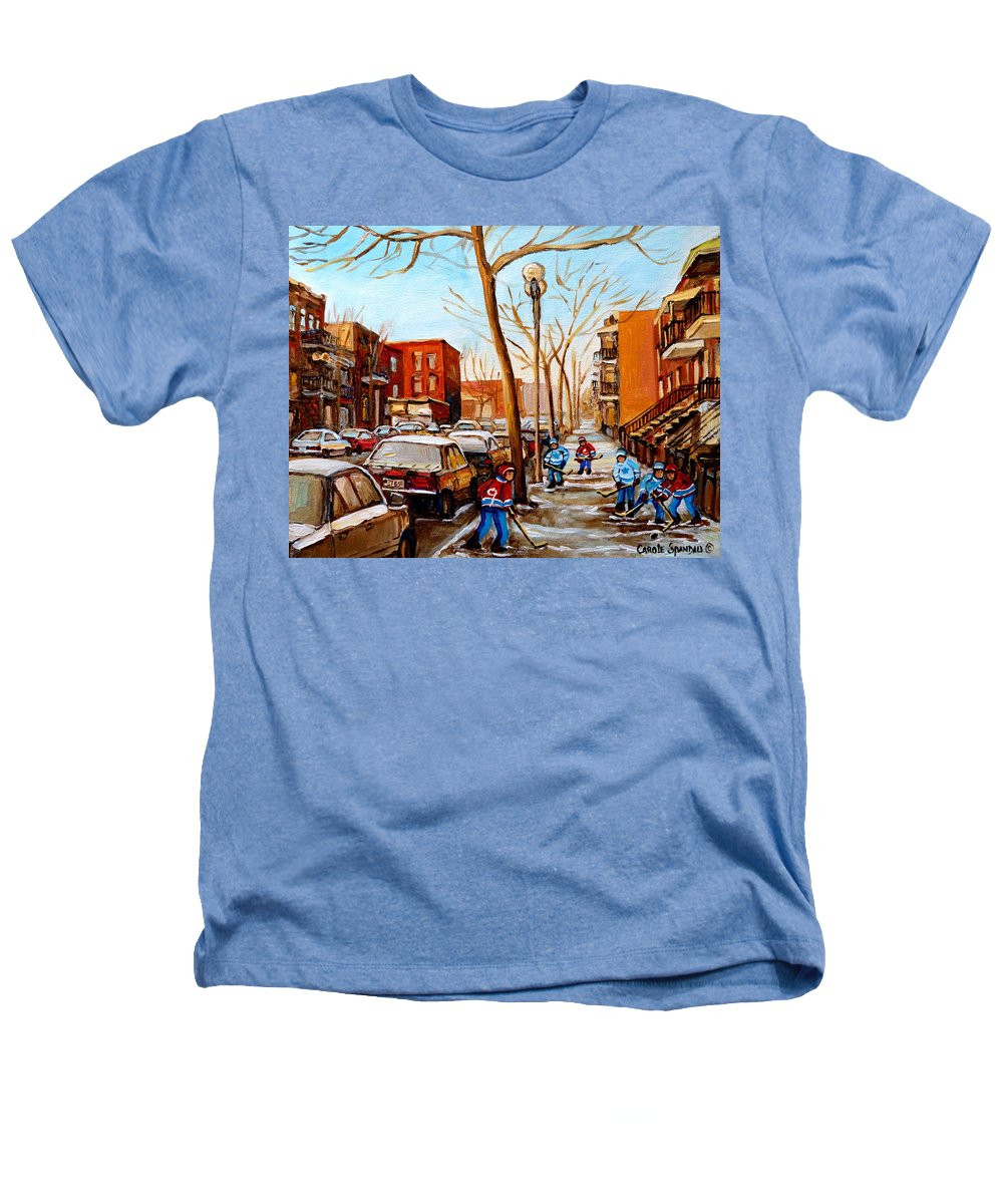 Hockey Heathers T-Shirt featuring the painting Hockey On St Urbain Street by Carole Spandau