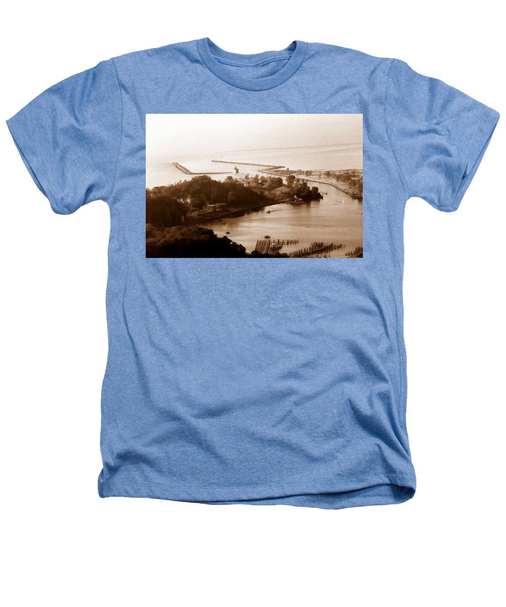 Holland Heathers T-Shirt featuring the photograph Holland Michigan Harbor Big Red Aerial Photo by Michelle Calkins