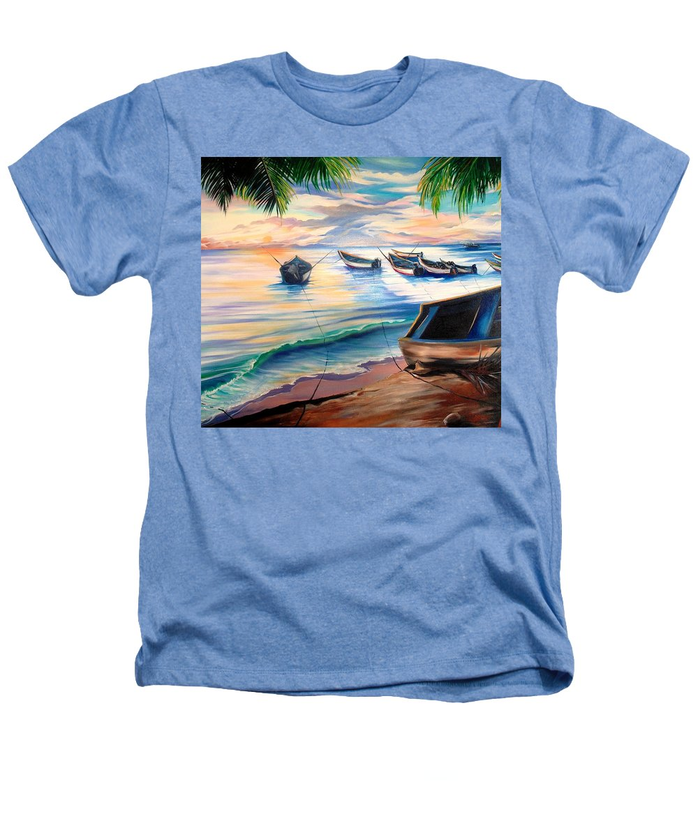 Ocean Painting Caribbean Painting Seascape Painting Beach Painting Fishing Boats Painting Sunset Painting Blue Palm Trees Fisherman Trinidad And Tobago Painting Tropical Painting Heathers T-Shirt featuring the painting Home From The Sea by Karin Dawn Kelshall- Best