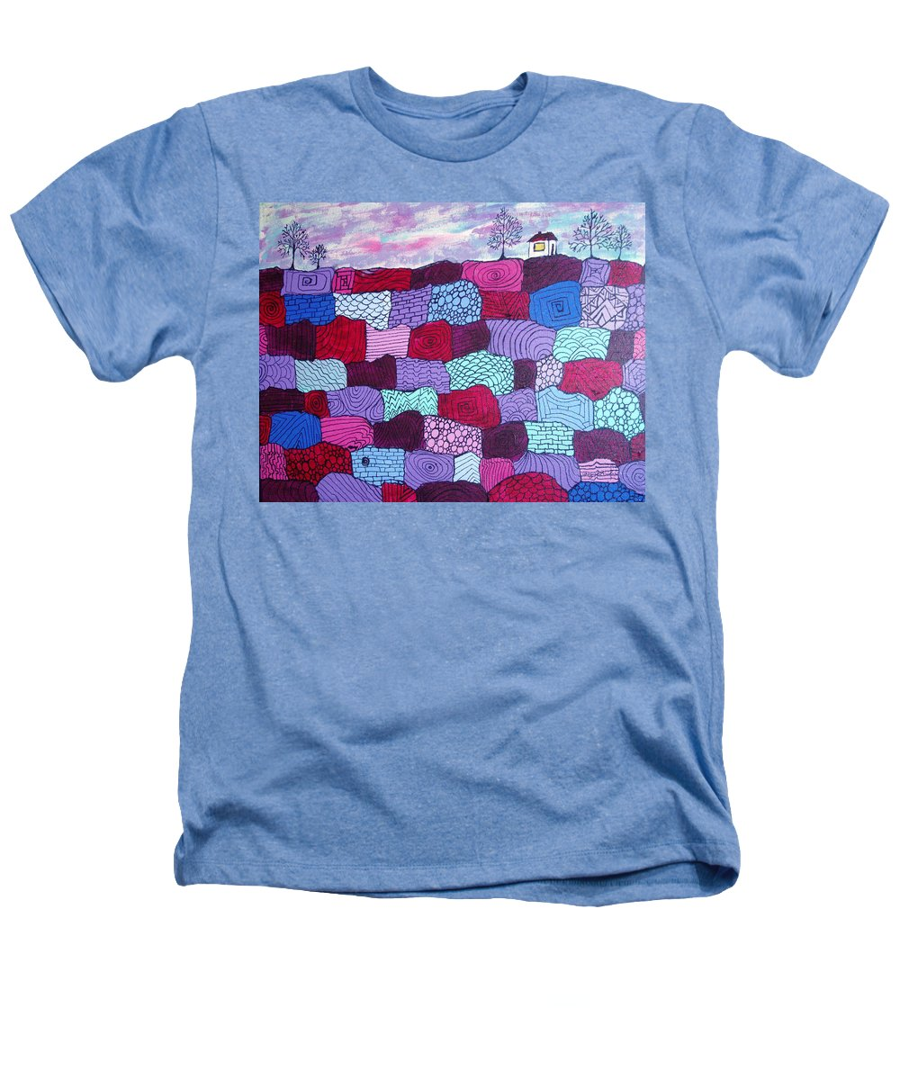 Folk Art Heathers T-Shirt featuring the painting House On Top Of Patchwork Hill by Wayne Potrafka