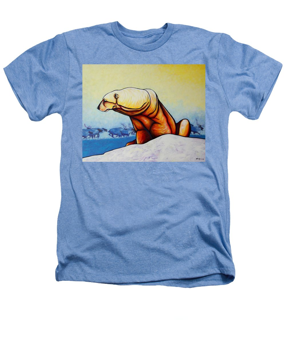 Wildlife Heathers T-Shirt featuring the painting Hunger Burns - Polar Bear And Caribou by Joe Triano