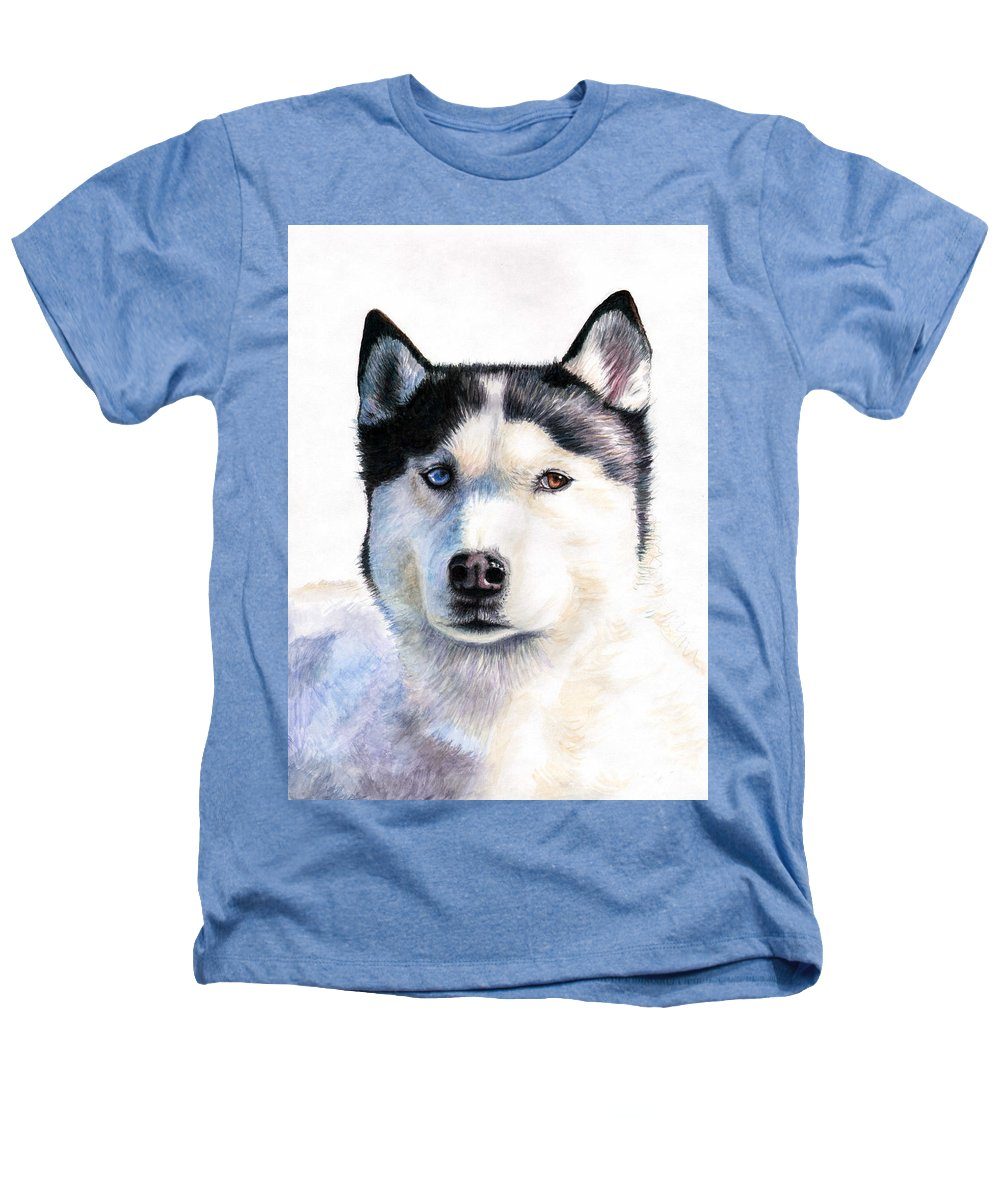 Dog Heathers T-Shirt featuring the painting Husky Blue by Nicole Zeug