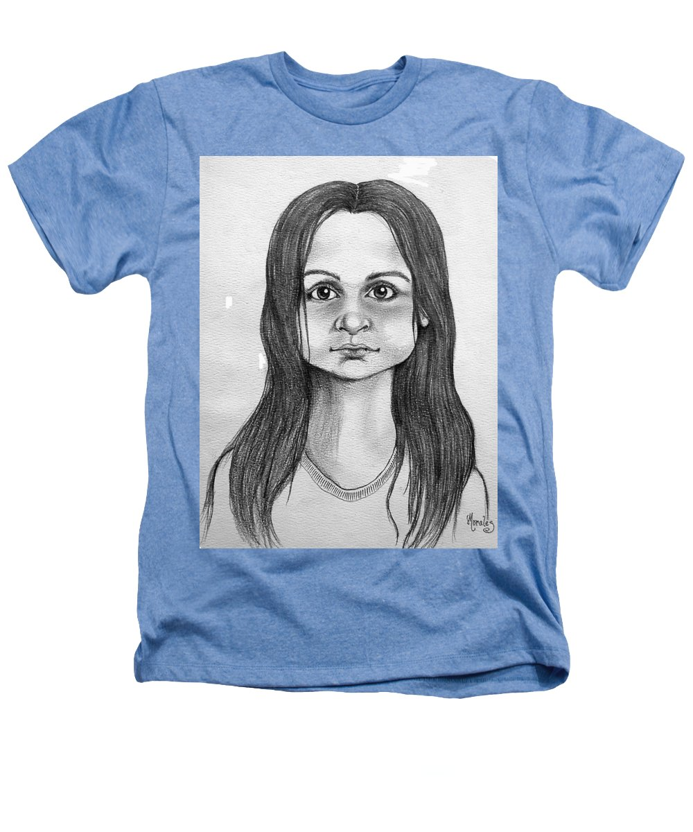 Portrait Heathers T-Shirt featuring the drawing Immigrant Girl by Marco Morales
