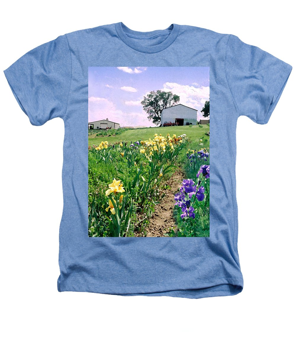 Landscape Painting Heathers T-Shirt featuring the photograph Iris Farm by Steve Karol