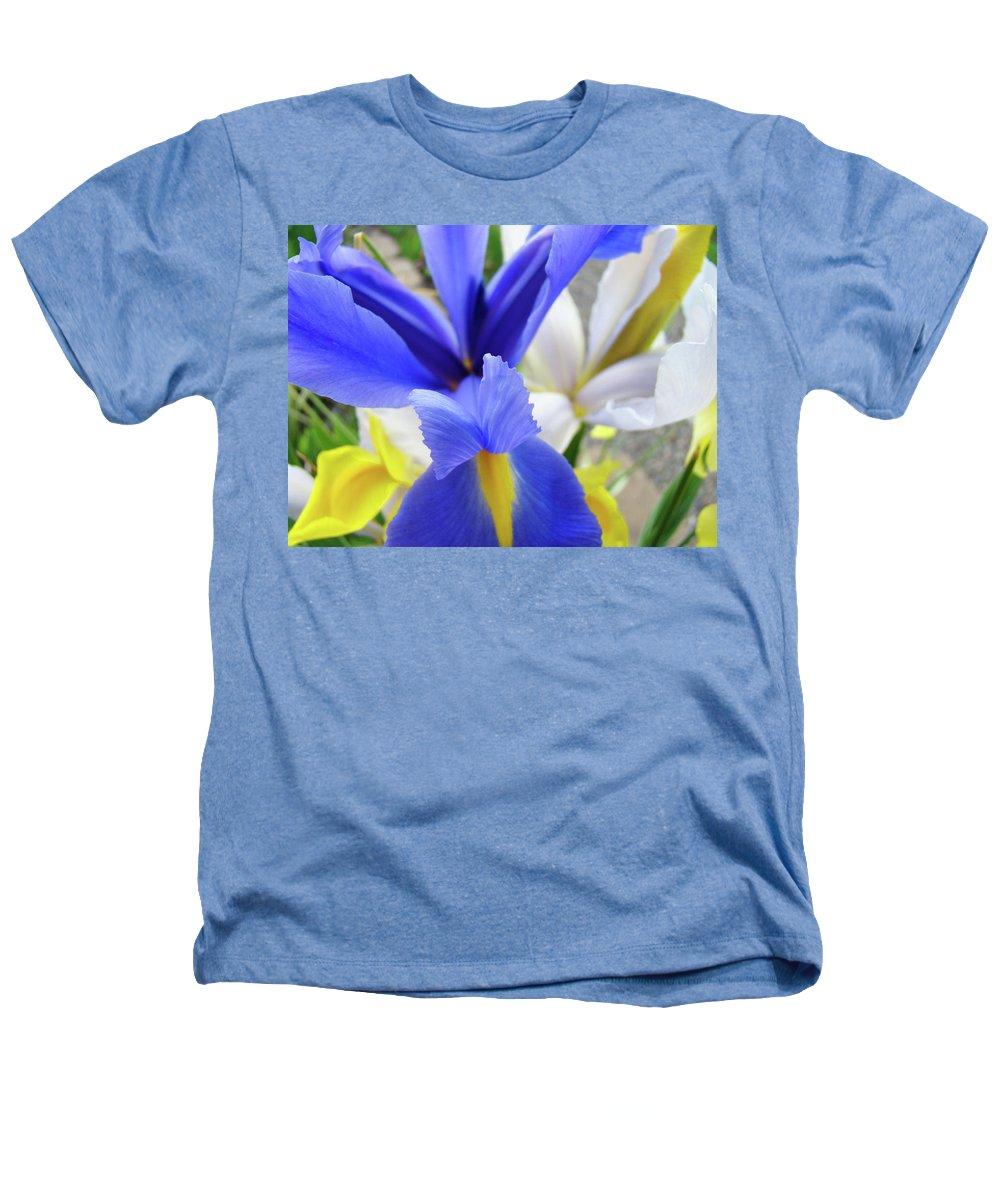 �irises Artwork� Heathers T-Shirt featuring the photograph Irises Flowers Artwork Blue Purple Iris Flowers 1 Botanical Floral Garden Baslee Troutman by Baslee Troutman