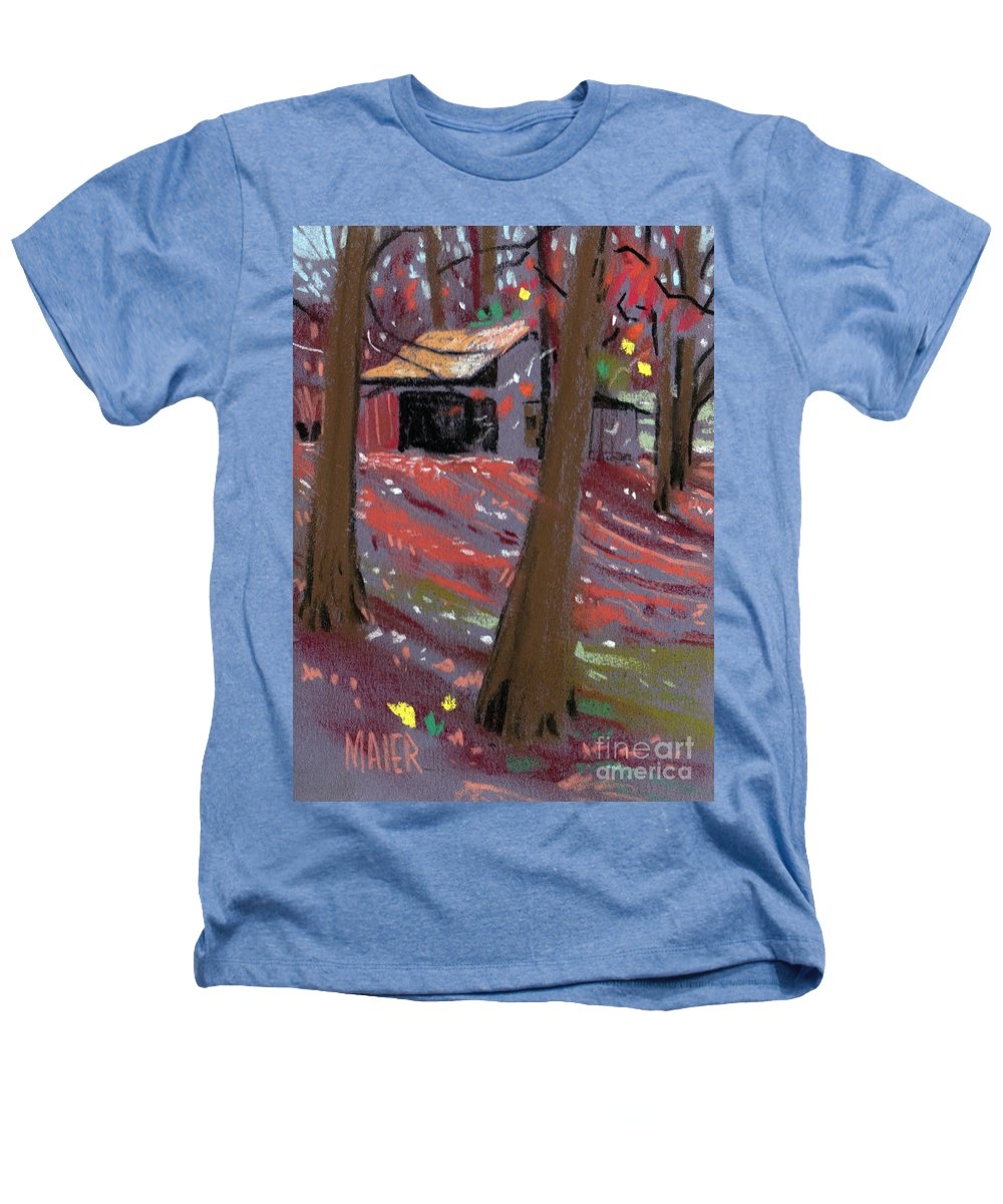 Barns Heathers T-Shirt featuring the drawing James's Barns 3 by Donald Maier
