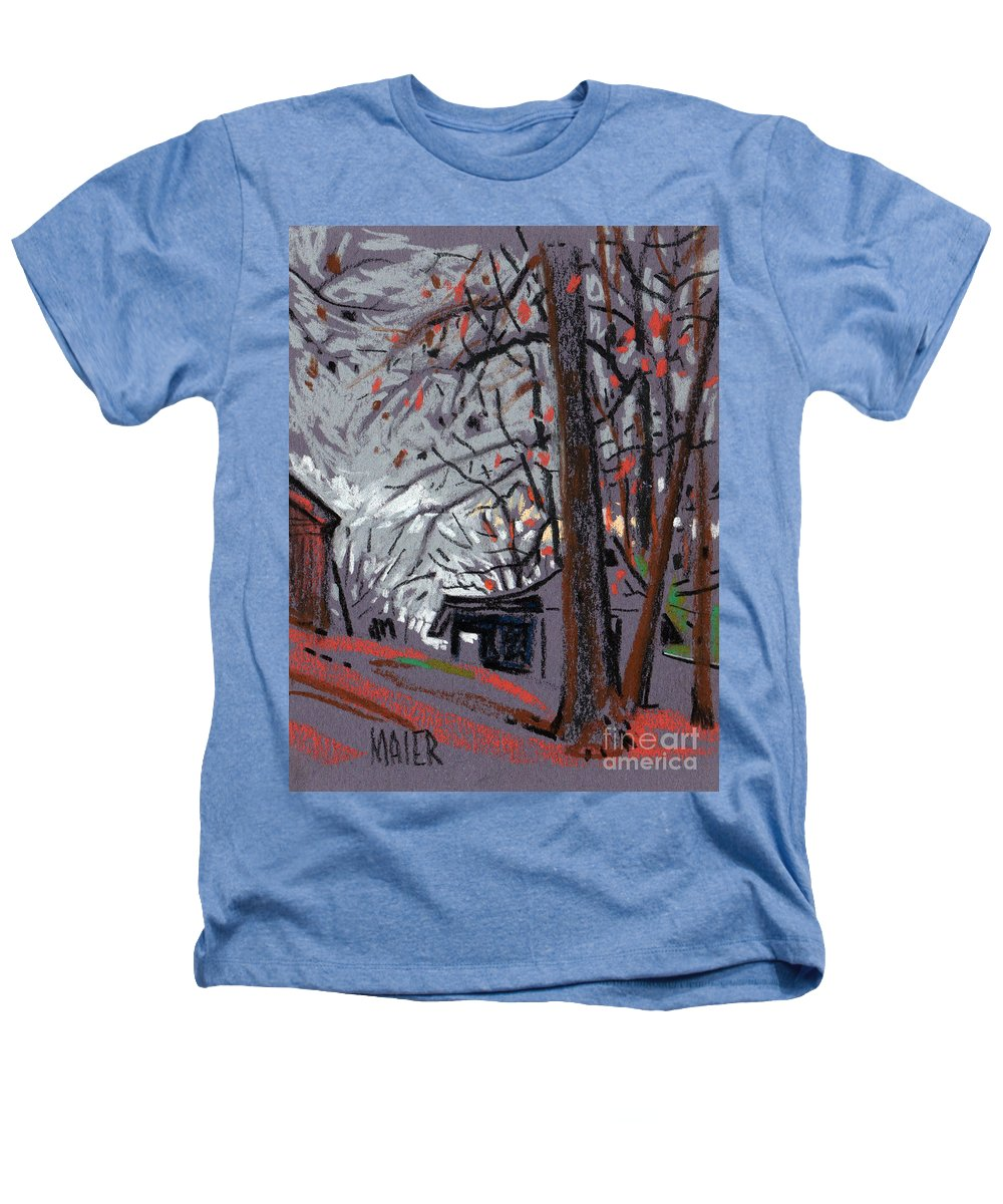 Barns Heathers T-Shirt featuring the drawing James's Barns 7 by Donald Maier