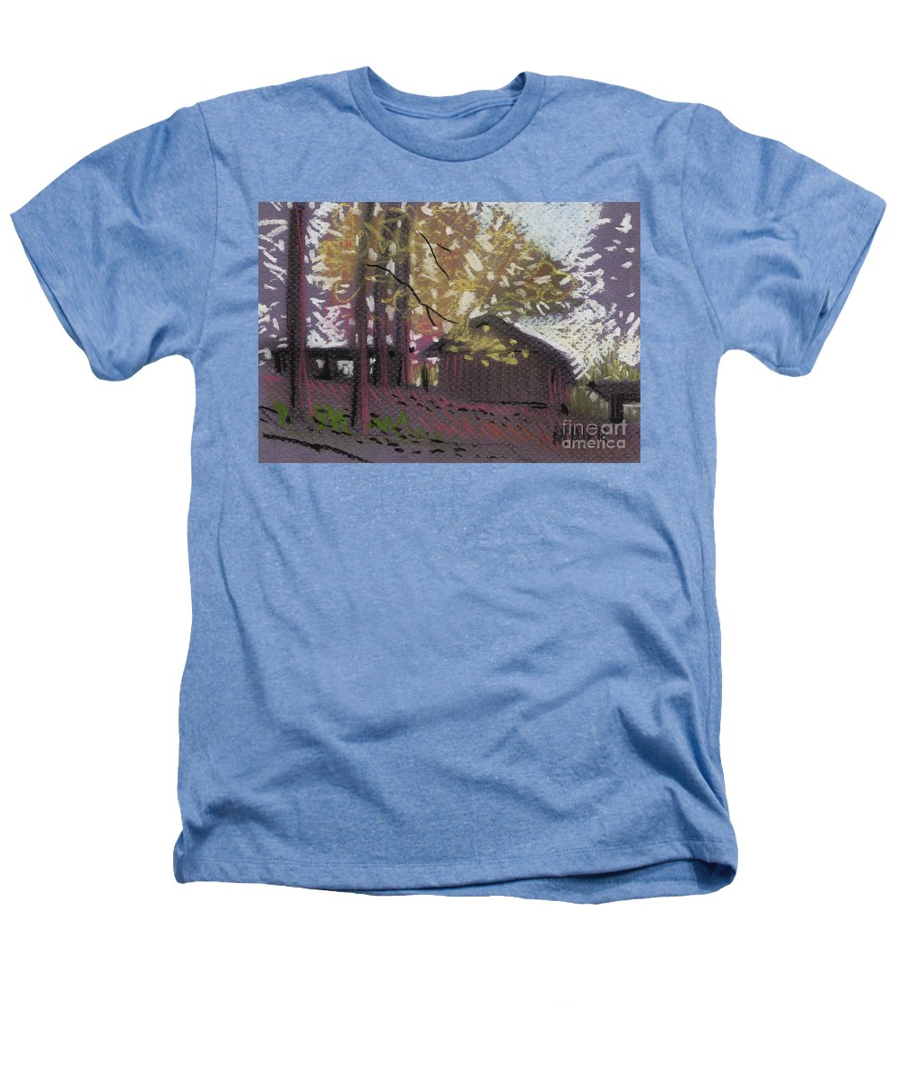 Pastel Heathers T-Shirt featuring the drawing James's Barns 9 by Donald Maier