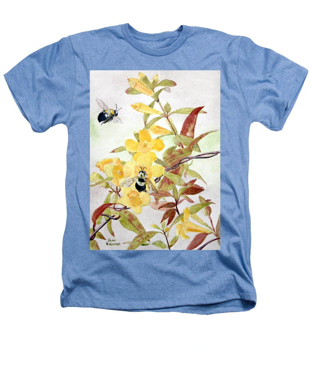 Jasmine Heathers T-Shirt featuring the painting Jessamine Bee Mine by Jean Blackmer