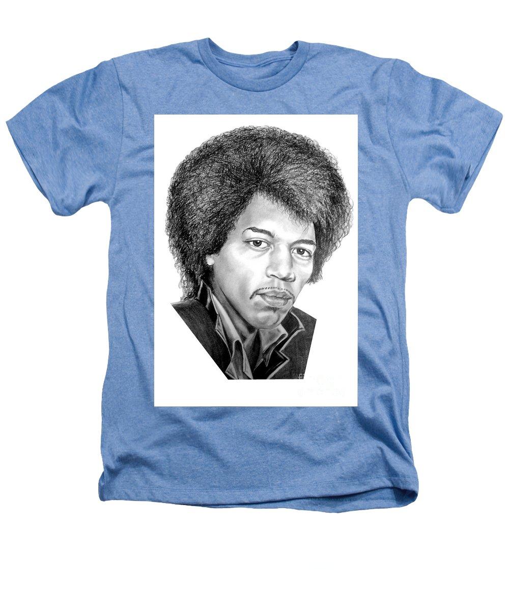Jimmi Hendrix Heathers T-Shirt featuring the drawing Jimmi Hendrix By Murphy Art. Elliott by Murphy Elliott