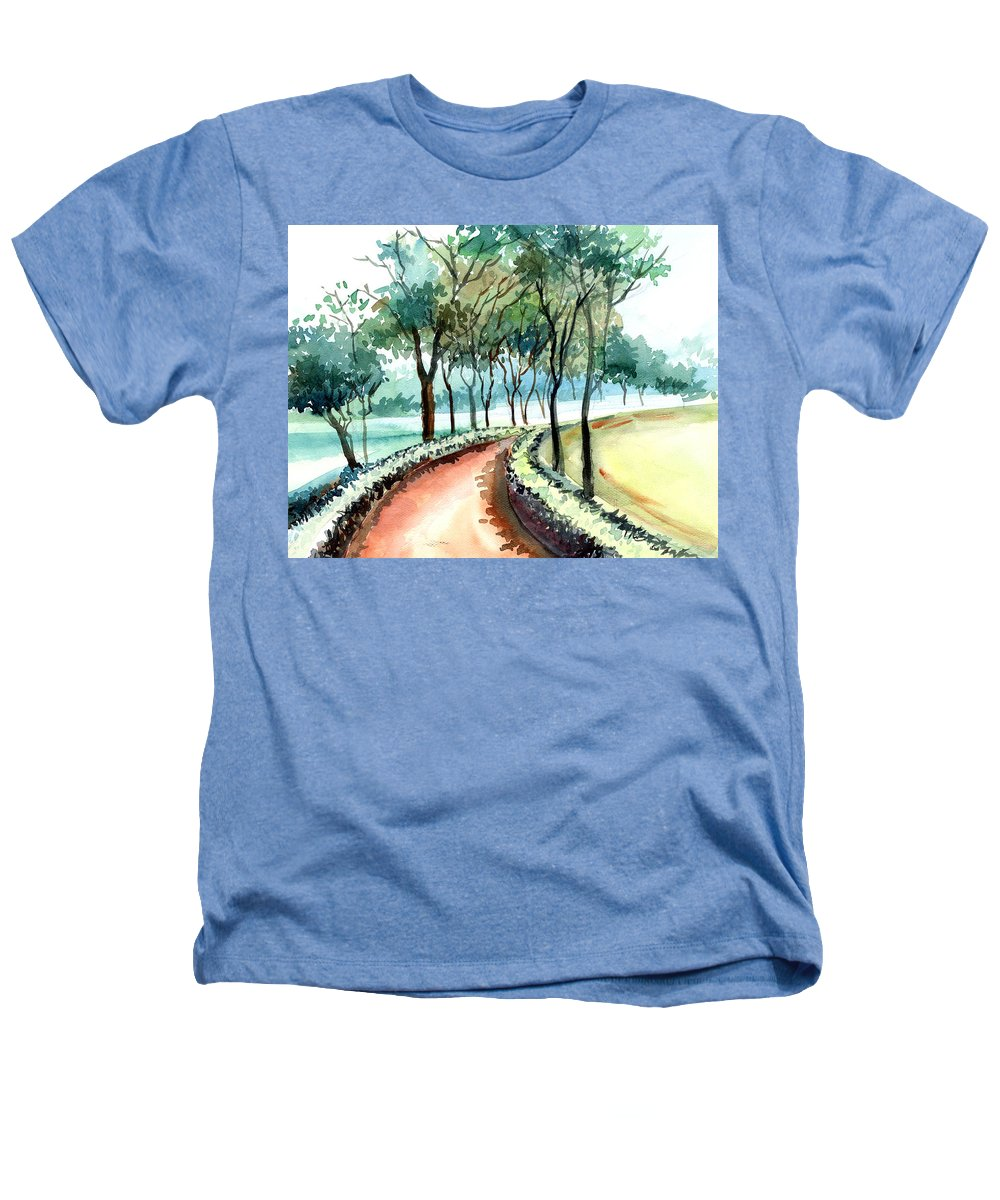 Landscape Heathers T-Shirt featuring the painting Jogging Track by Anil Nene