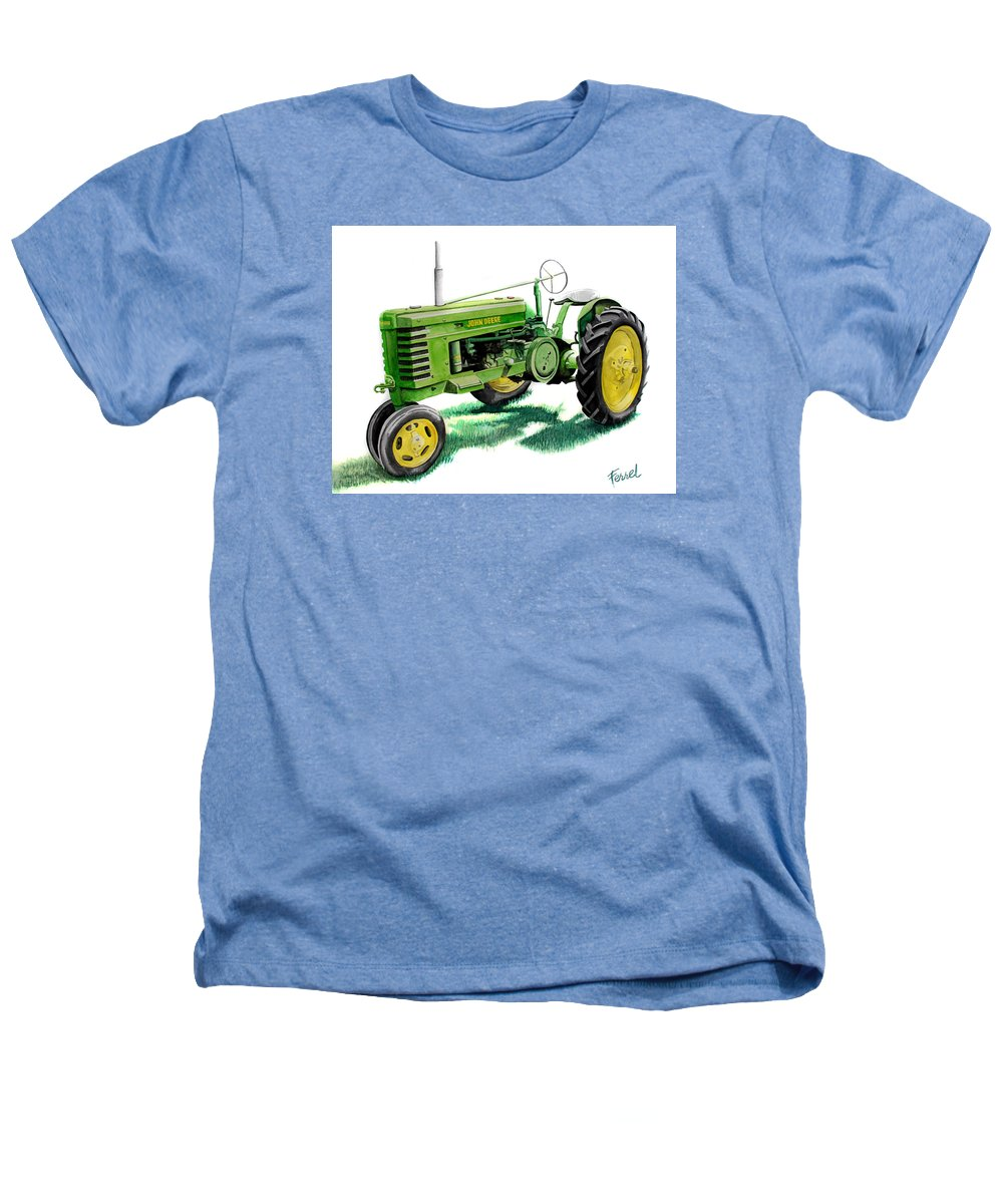 John Deere Tractor Heathers T-Shirt featuring the painting John Deere Tractor by Ferrel Cordle