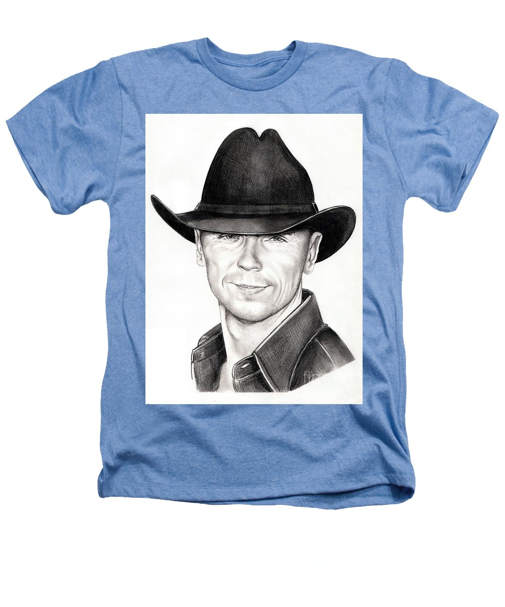 Portrait Heathers T-Shirt featuring the drawing Kenny Chesney by Murphy Elliott